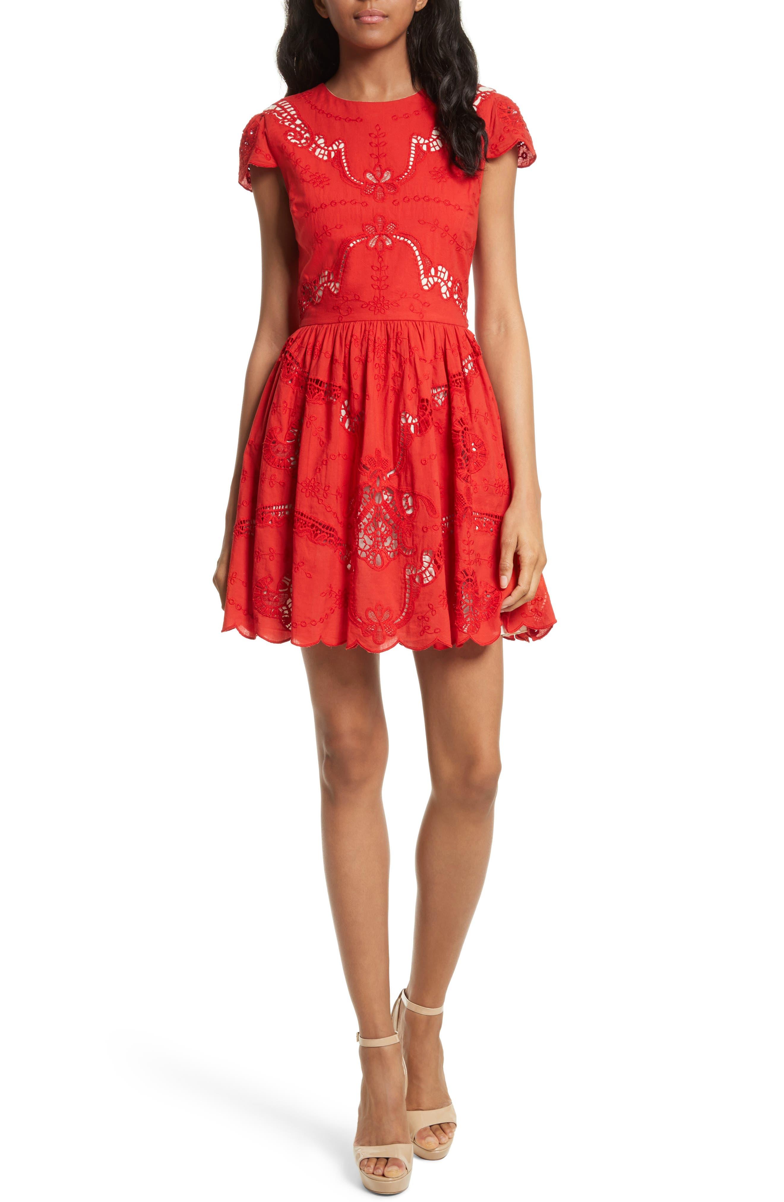 Alternate Image 1 Selected - Alice + Olivia Karen Eyelet Embroidered Party Dress