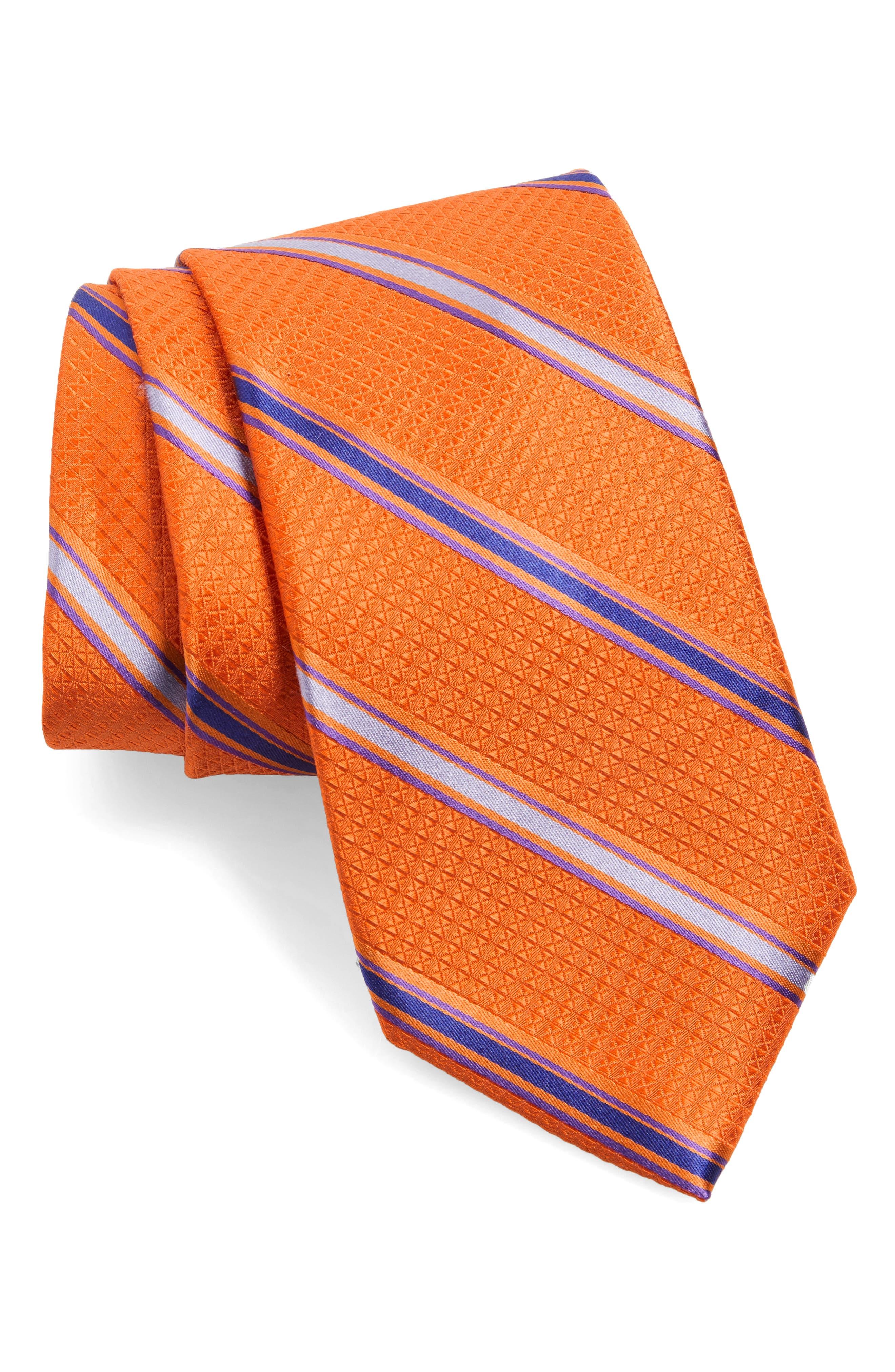 Stripe Silk Tie,                         Main,                         color, Orange