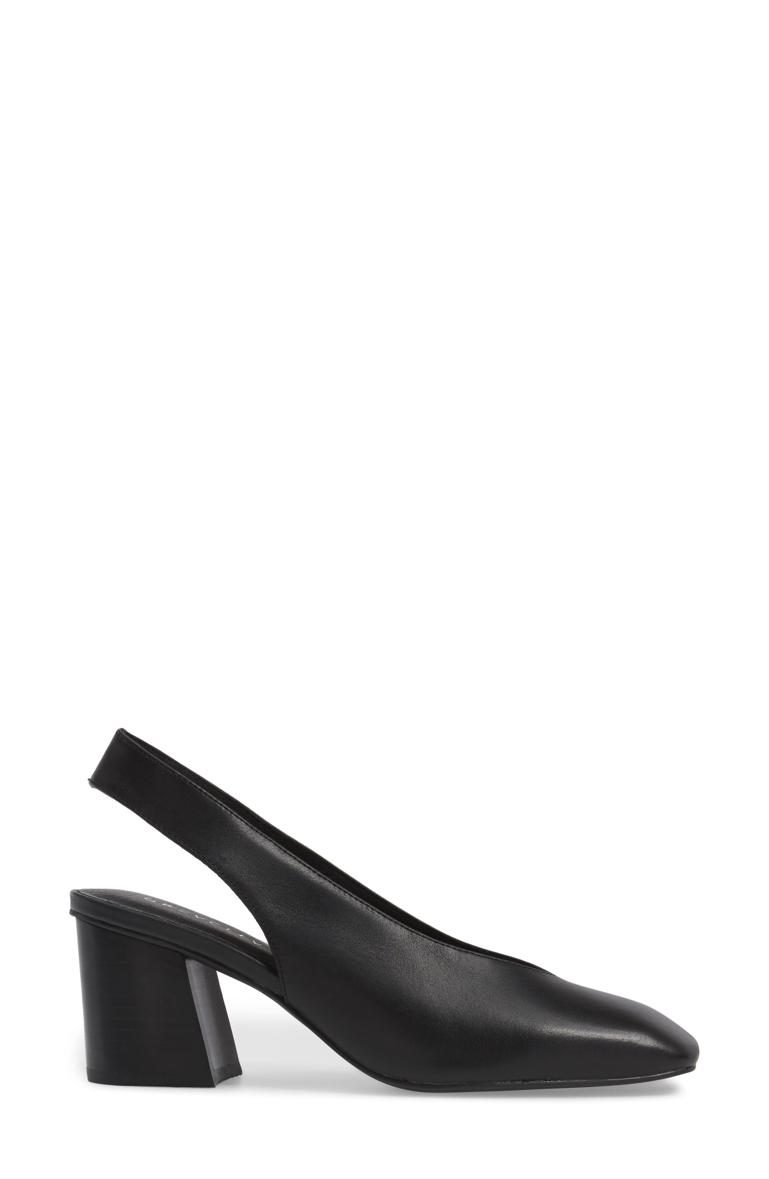 Sydney Square-Toe Slingback Pump,                             Alternate thumbnail 3, color,                             Black