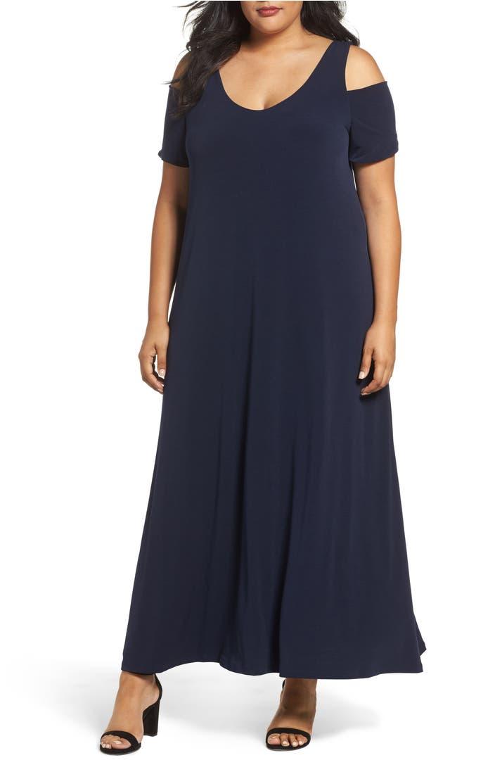 Sejour Knit Cold Shoulder Maxi Dress Plus Size Nordstrom