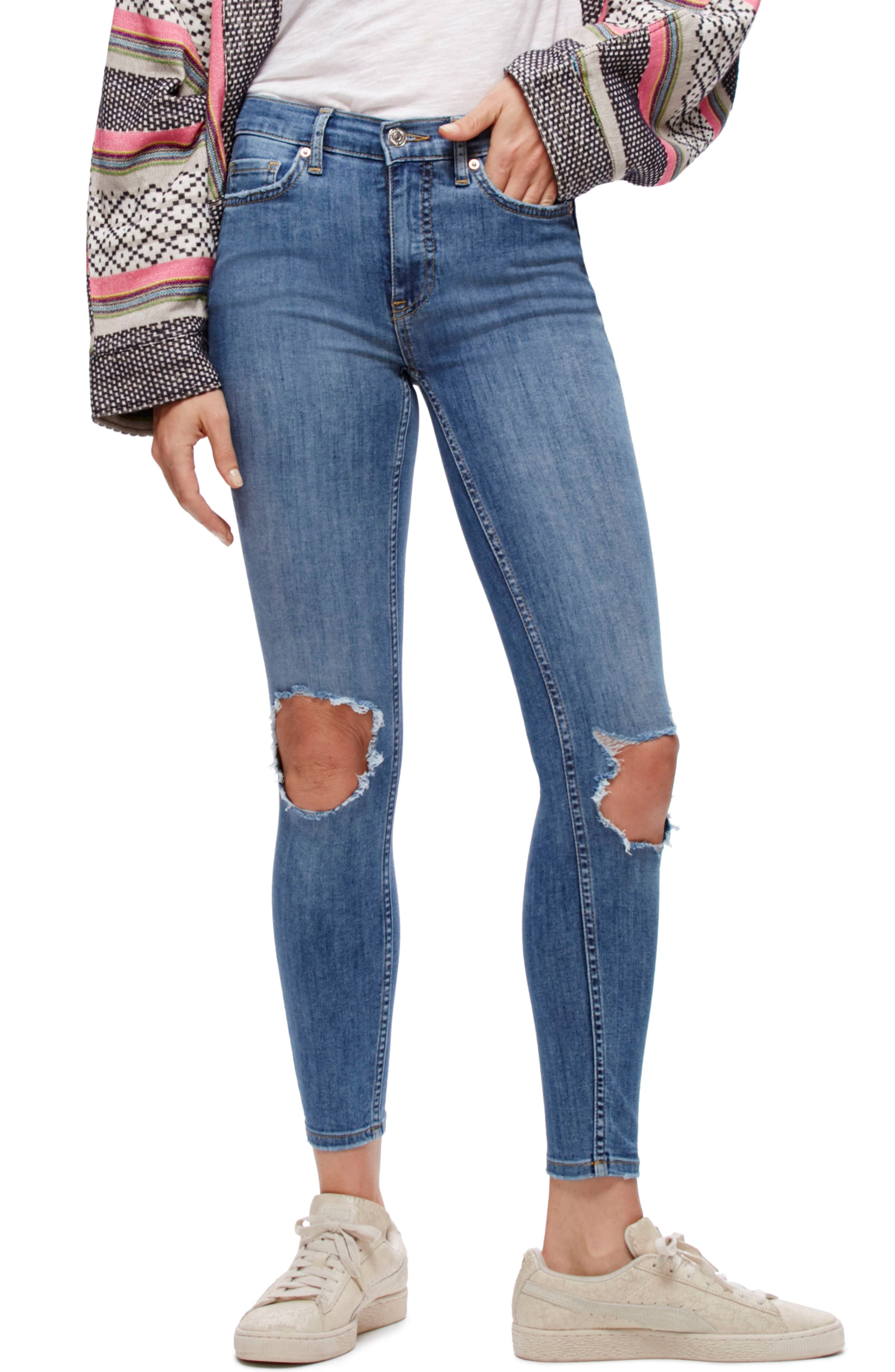Main Image - Free People High Rise Busted Knee Skinny Jeans (Light Denim)