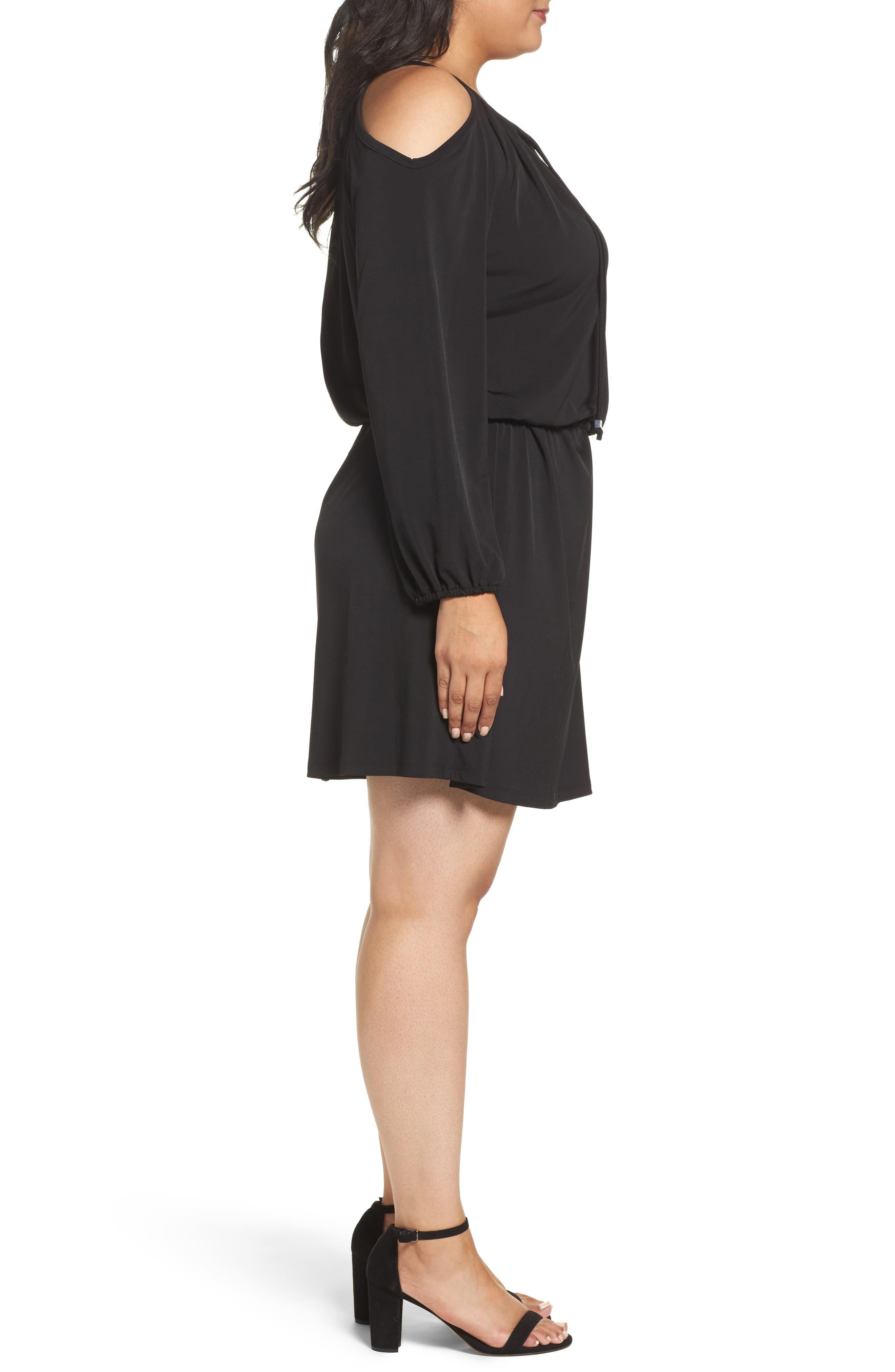 Cold Shoulder A-Line Jersey Dress,                             Alternate thumbnail 3, color,                             Black