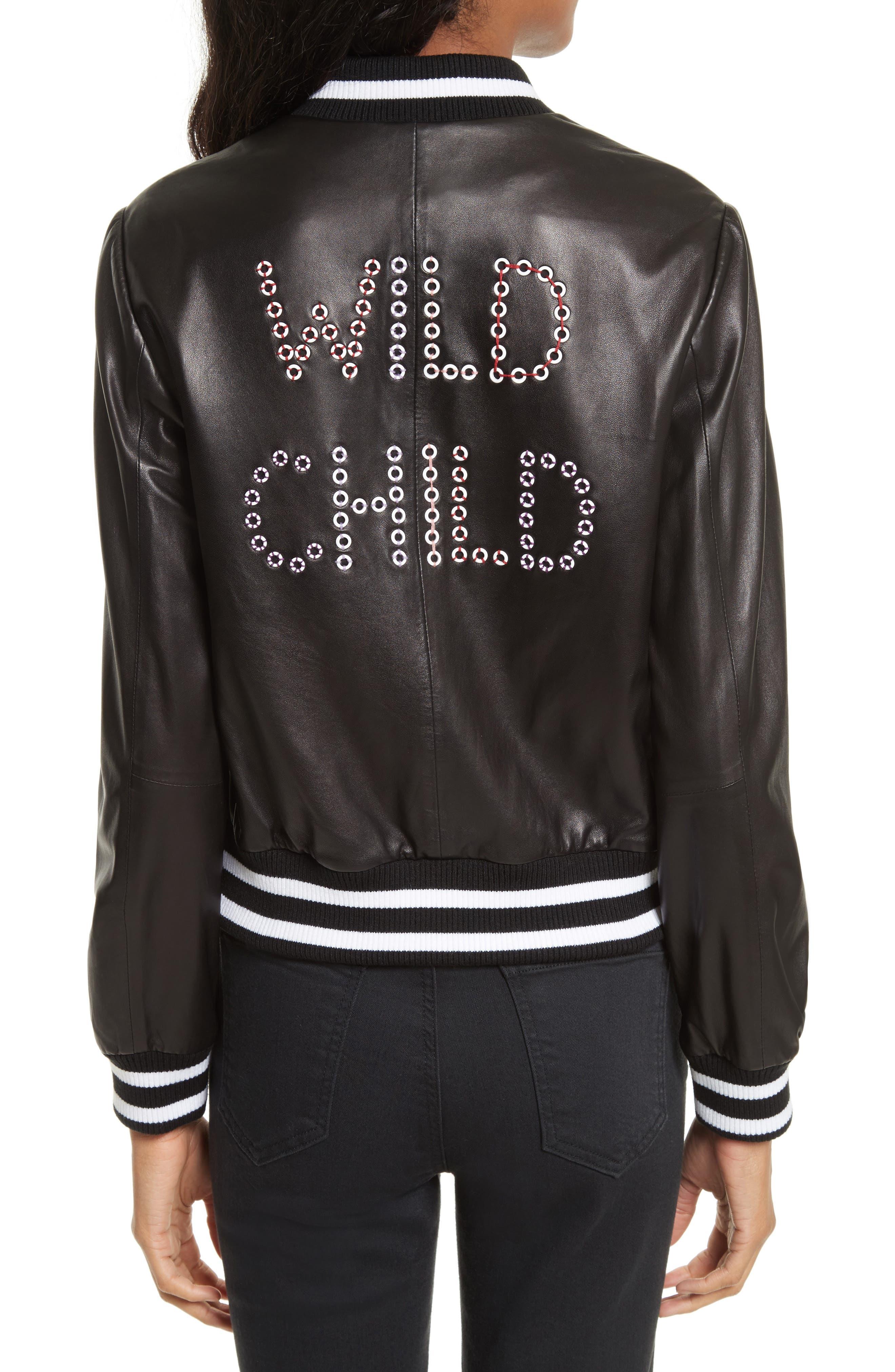 Alternate Image 2  - Alice + Olivia Demia Embellished Crop Leather Bomber Jacket