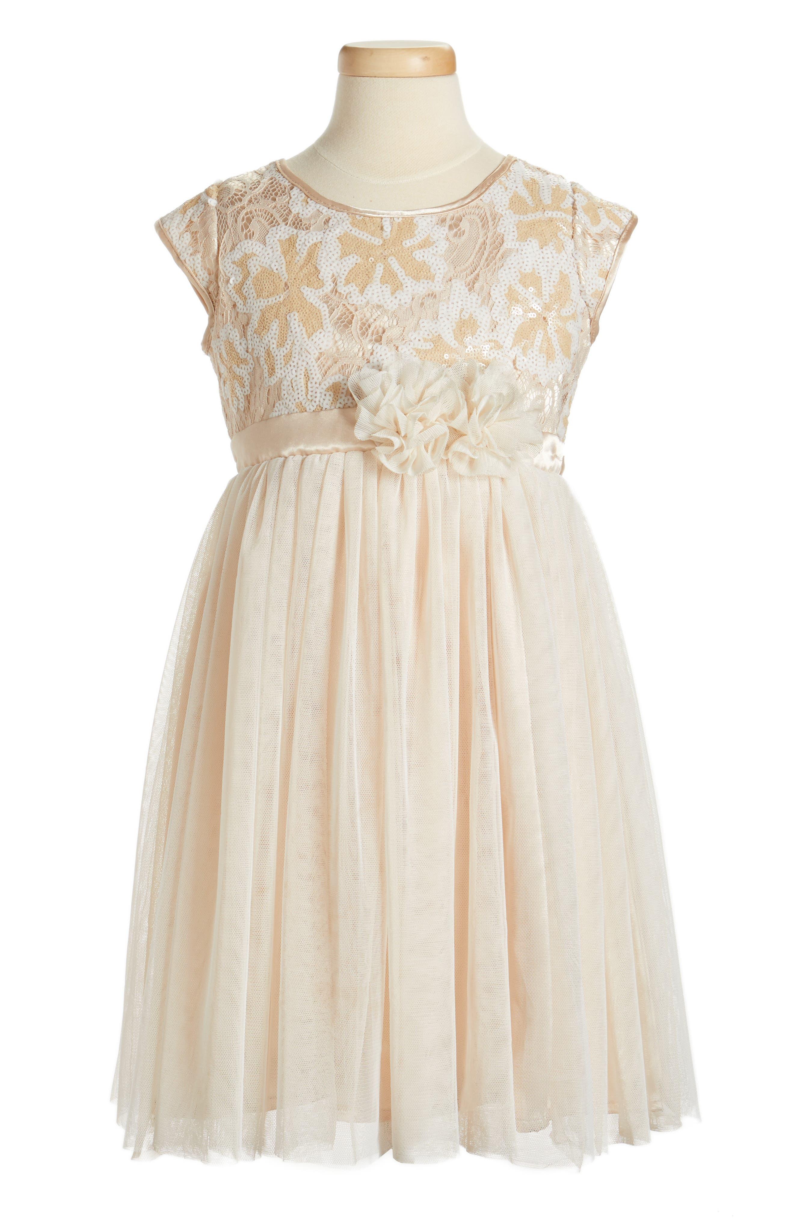 Sequin Flower Dress,                             Main thumbnail 1, color,                             Ivory