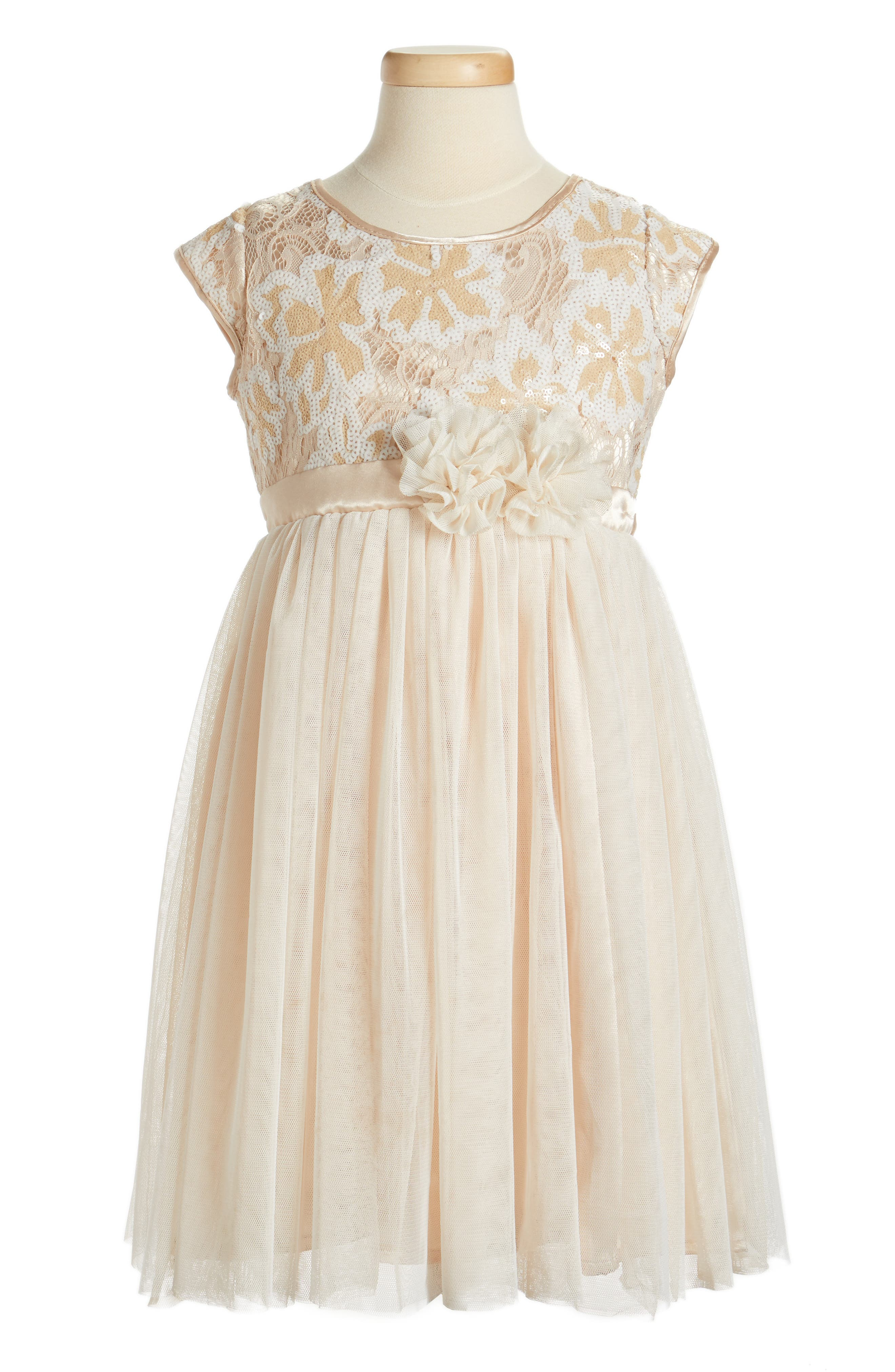 Main Image - Popatu Sequin Flower Dress (Toddler Girls, Little Girls & Big Girls)