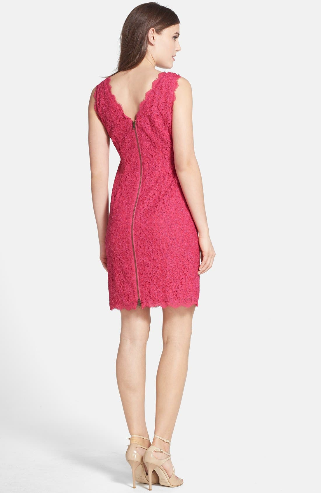 Boatneck Lace Sheath Dress,                             Alternate thumbnail 2, color,                             Fuchsia