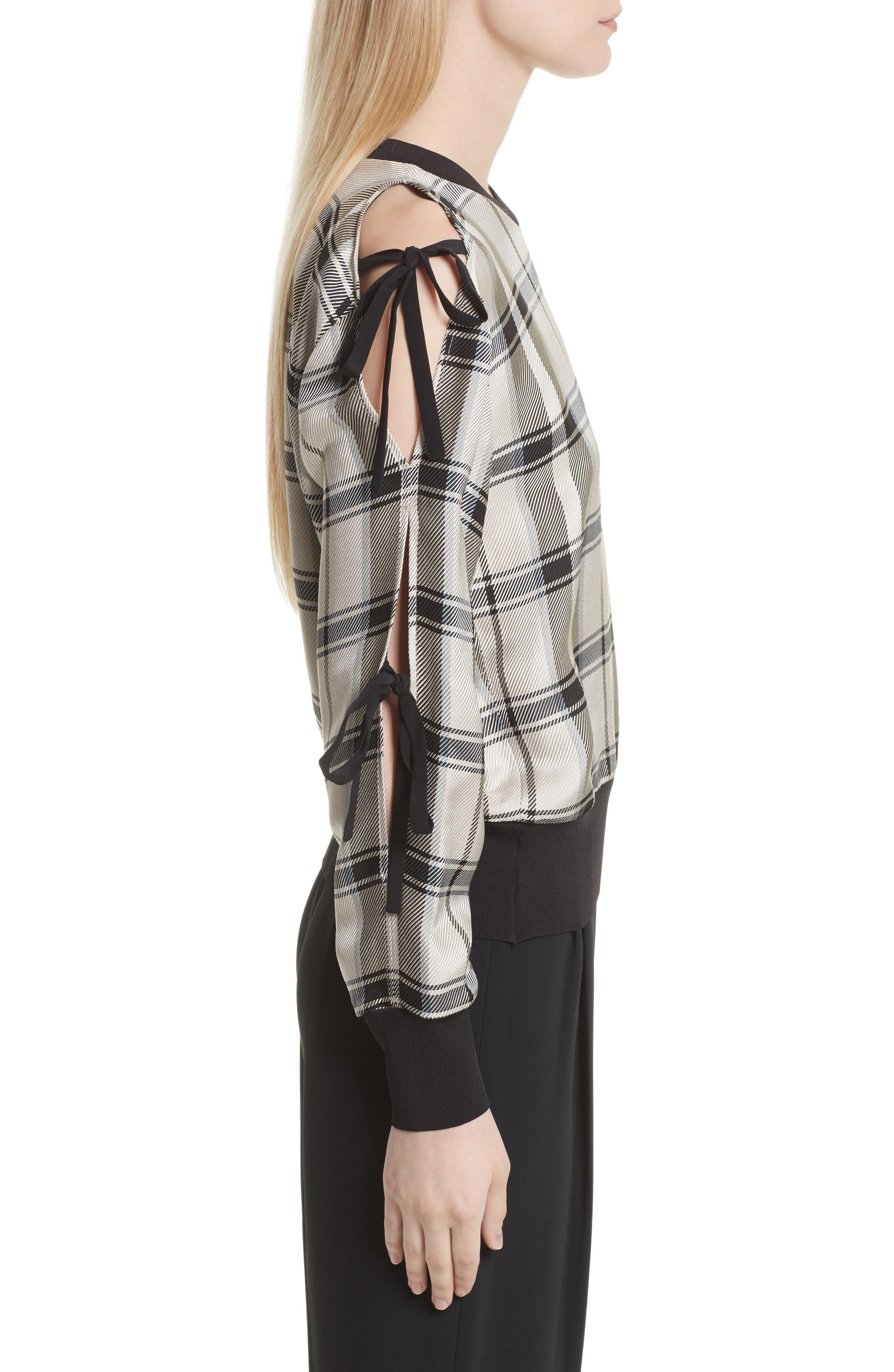 Tie Sleeve Check Pullover,                             Alternate thumbnail 4, color,                             Cream/ Black