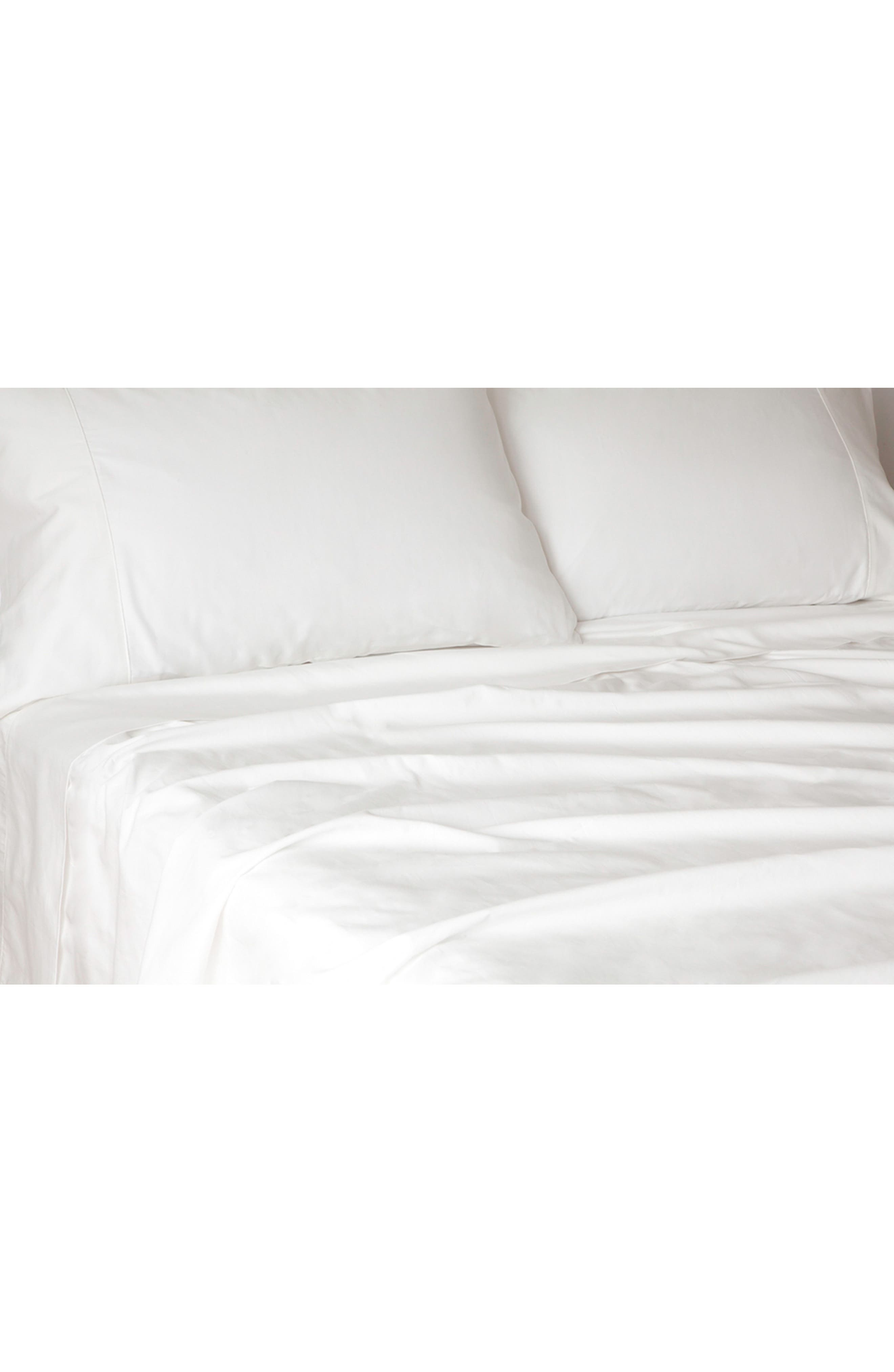 300 Thread Count Organic Cotton Sateen Sheet Set,                             Main thumbnail 1, color,                             White
