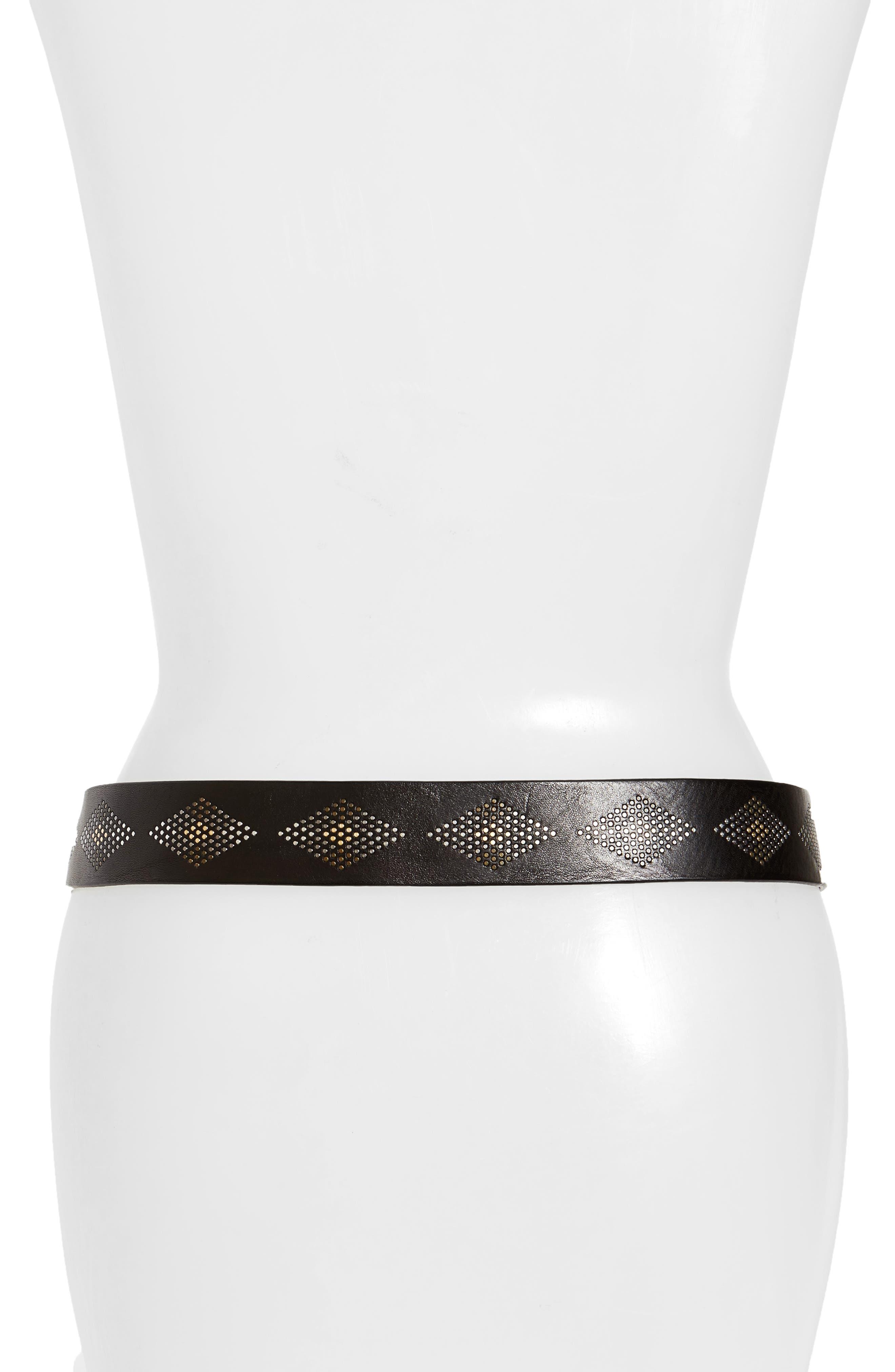 Rhombus Stud Leather Belt,                             Alternate thumbnail 2, color,                             Black