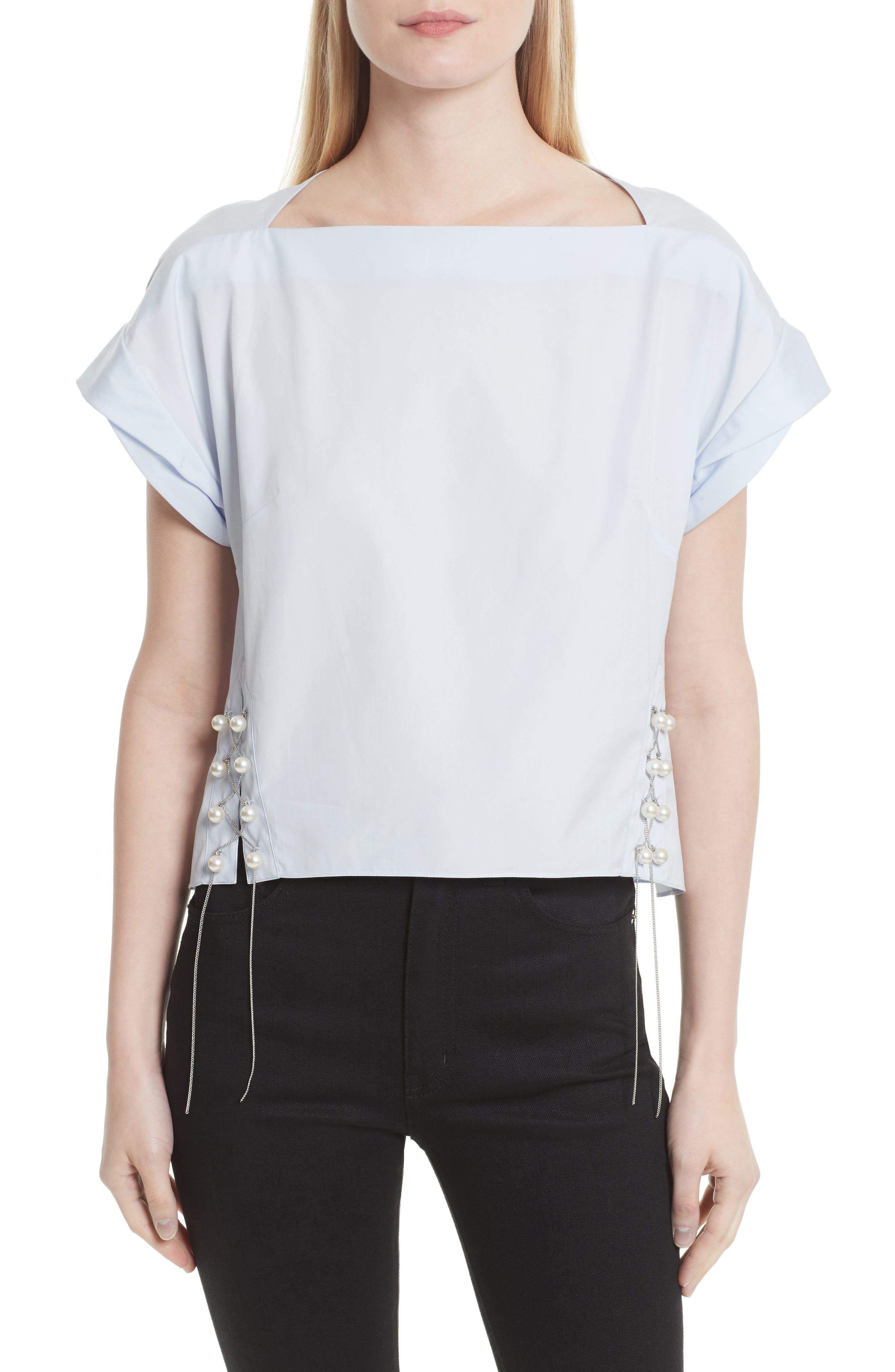 3.1 PHILLIP LIM Faux Pearl & Chain Lacing Cotton Top