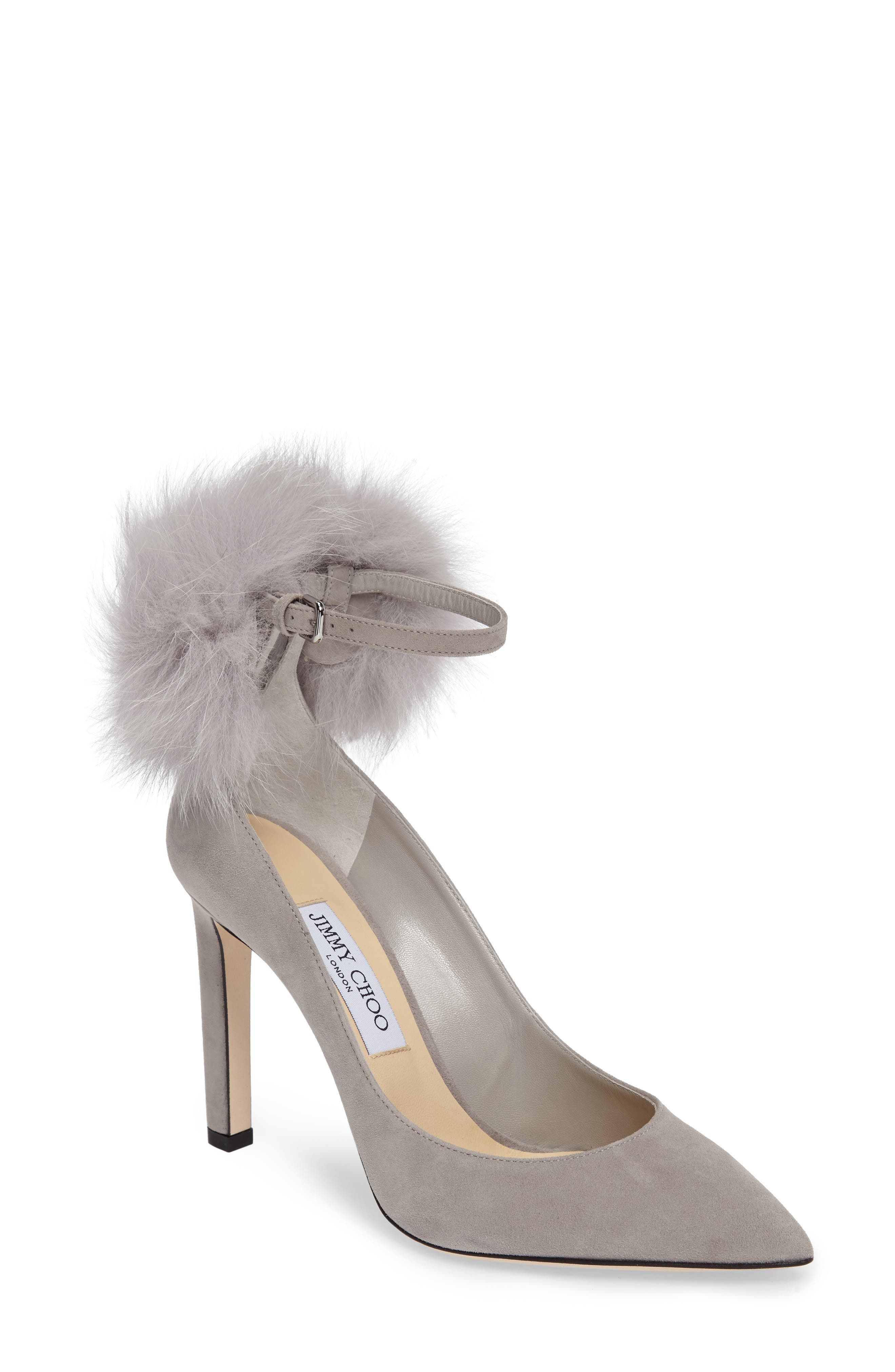 Alternate Image 1 Selected - Jimmy Choo South Genuine Fox Fur Pompom Pump (Women)