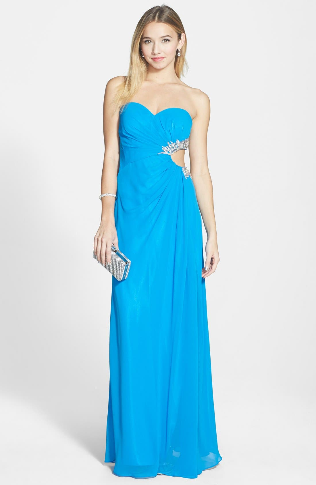 Main Image - Faviana Embellished Cutout Sweetheart Chiffon Gown (Online Only)