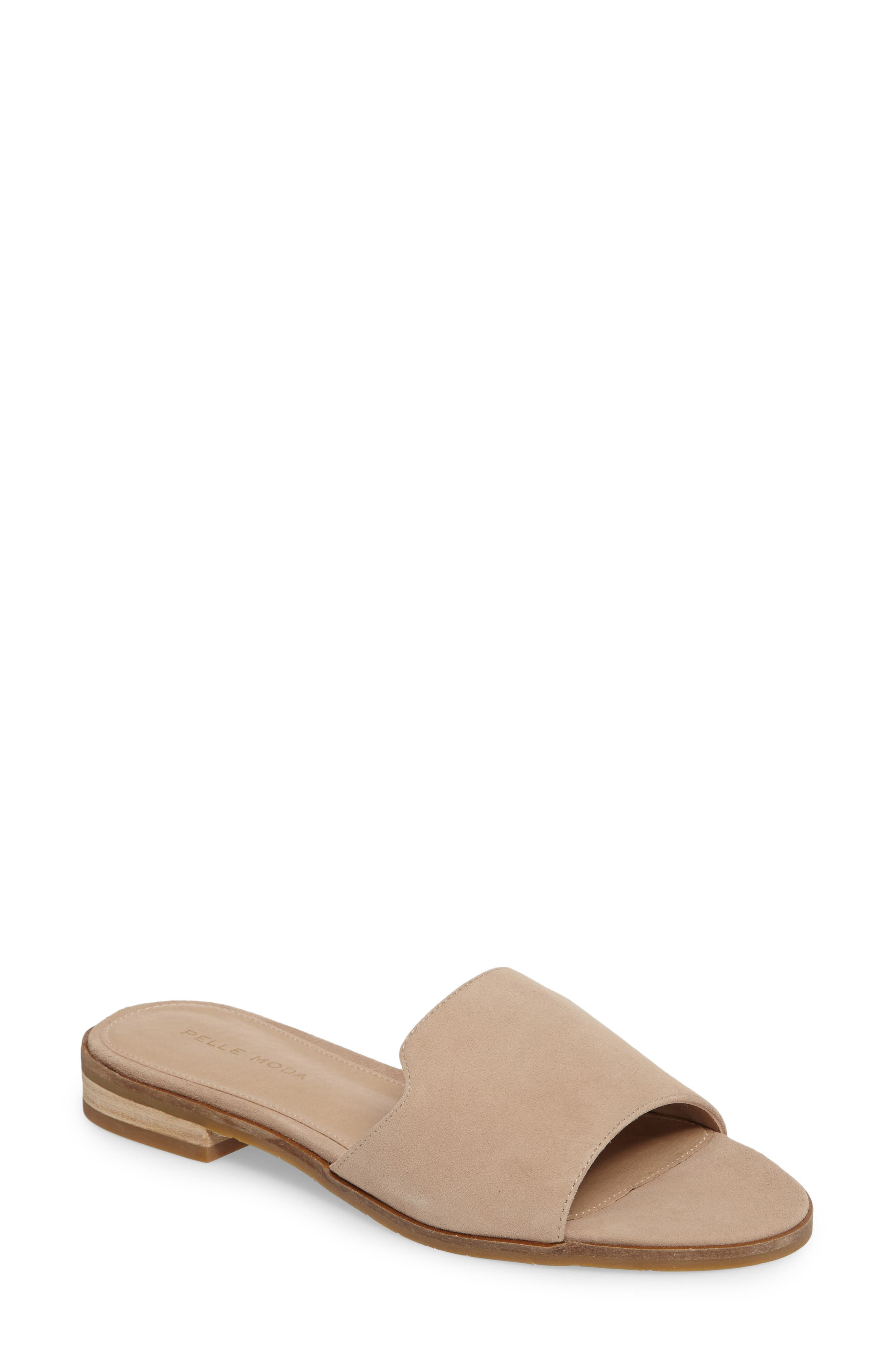 Hailey Slide Sandal,                         Main,                         color, Sand Leather