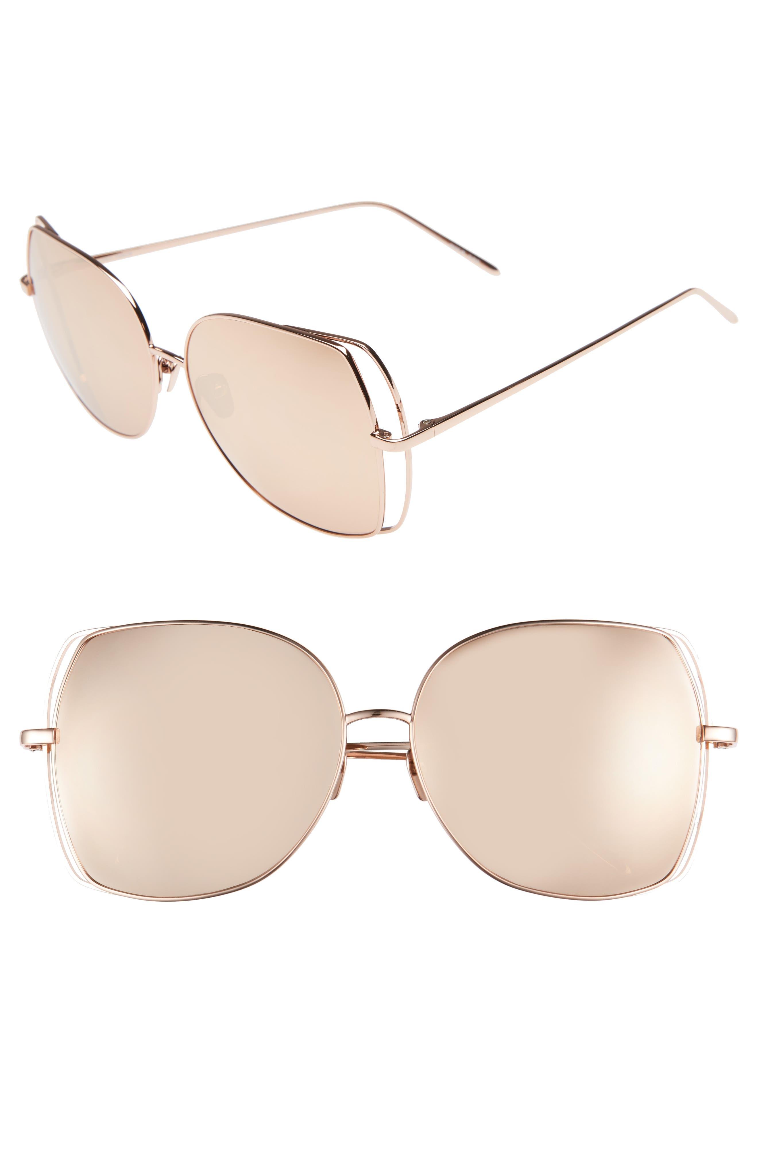 Linda Farrow 61mm Mirrored 18 Karat Rose-Gold Sunglasses