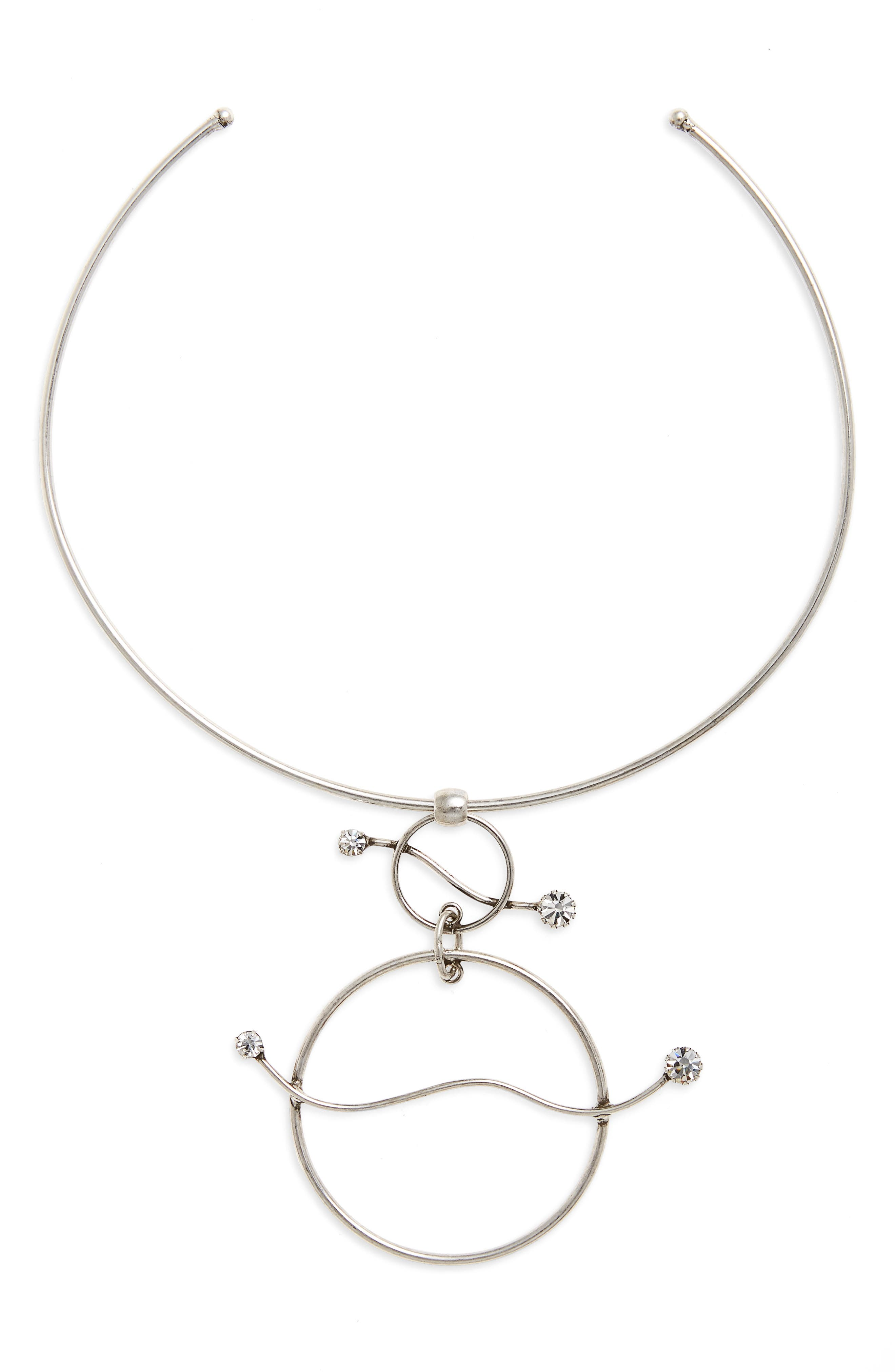 Josef Pendant Necklace,                         Main,                         color, Crystal / Ox Silver