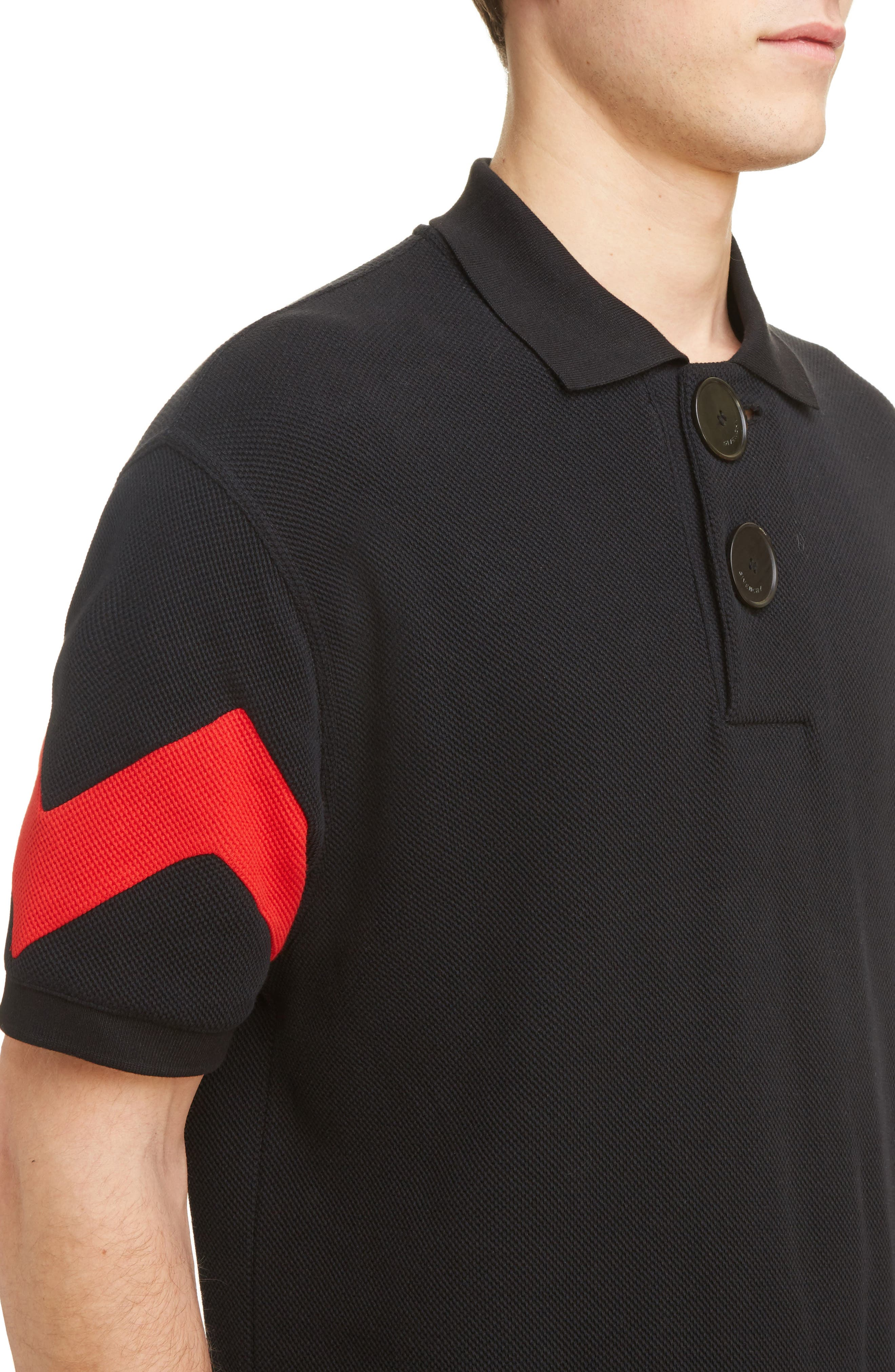 Cuban Fit Stripe Sleeve Polo,                             Alternate thumbnail 4, color,                             Black