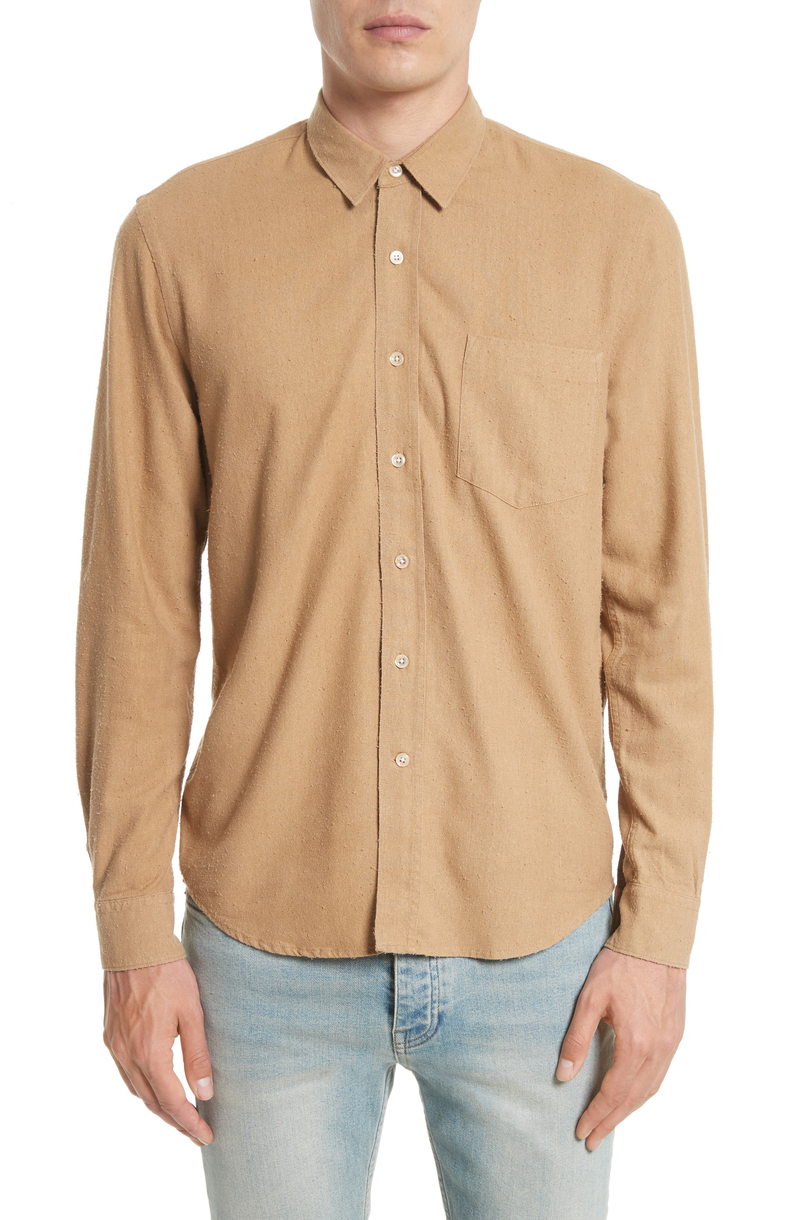 Regular Fit Silk Noil Sport Shirt,                             Main thumbnail 1, color,                             Tan