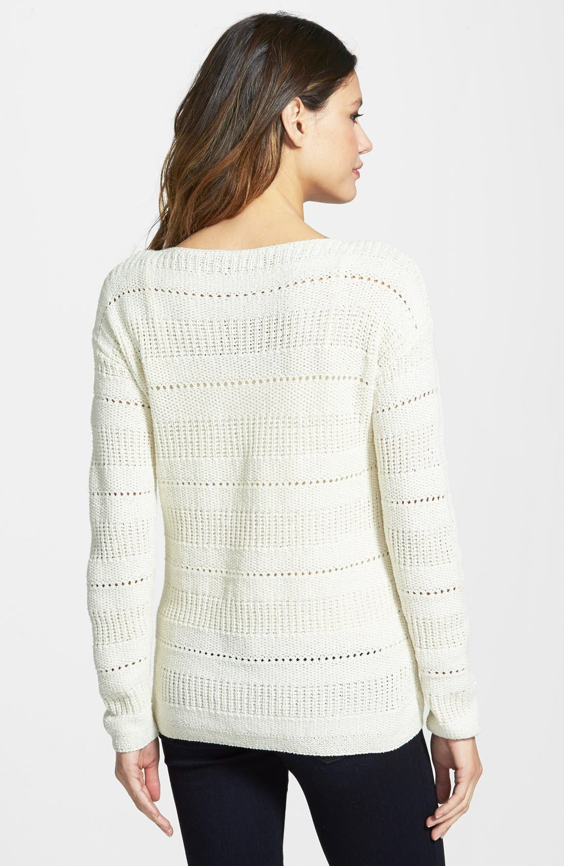 Alternate Image 2  - Nordstrom Collection Pointelle Stitch Boatneck Sweater