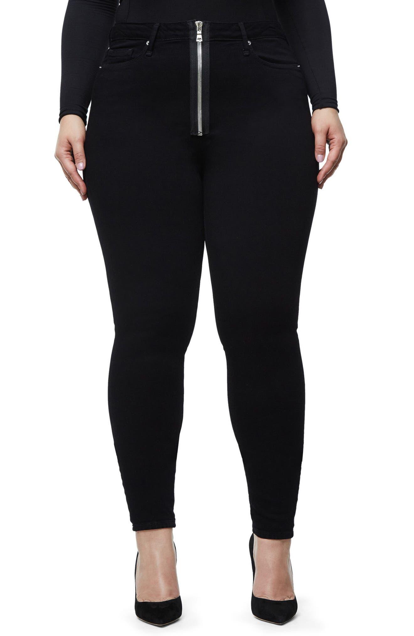 Good Waist Exposed Zip Skinny Jeans,                             Alternate thumbnail 7, color,                             Black001