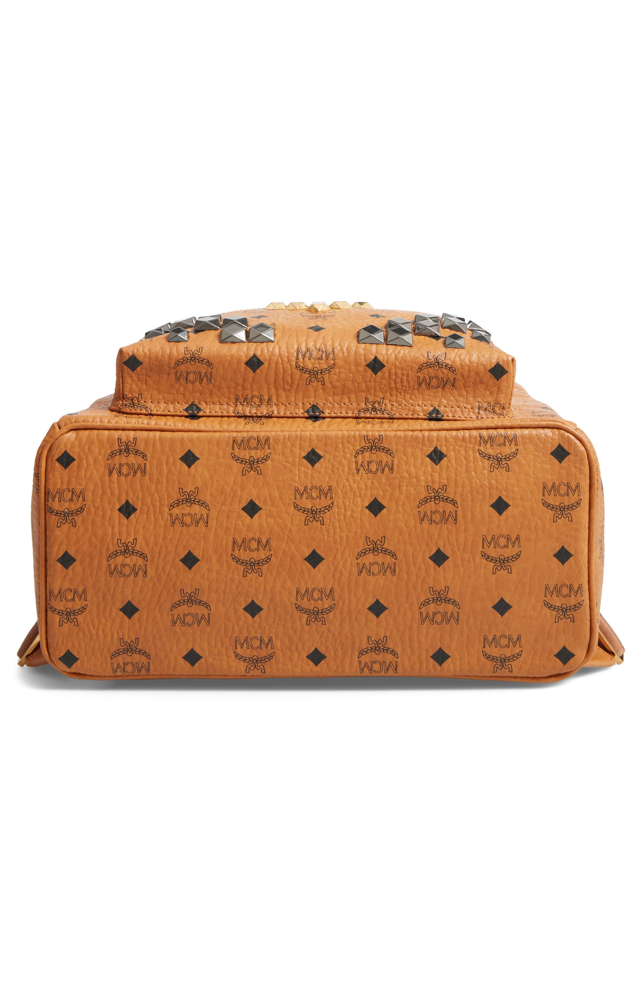 Alternate Image 6  - MCM Medium Stark - Visetos Studded Logo Backpack