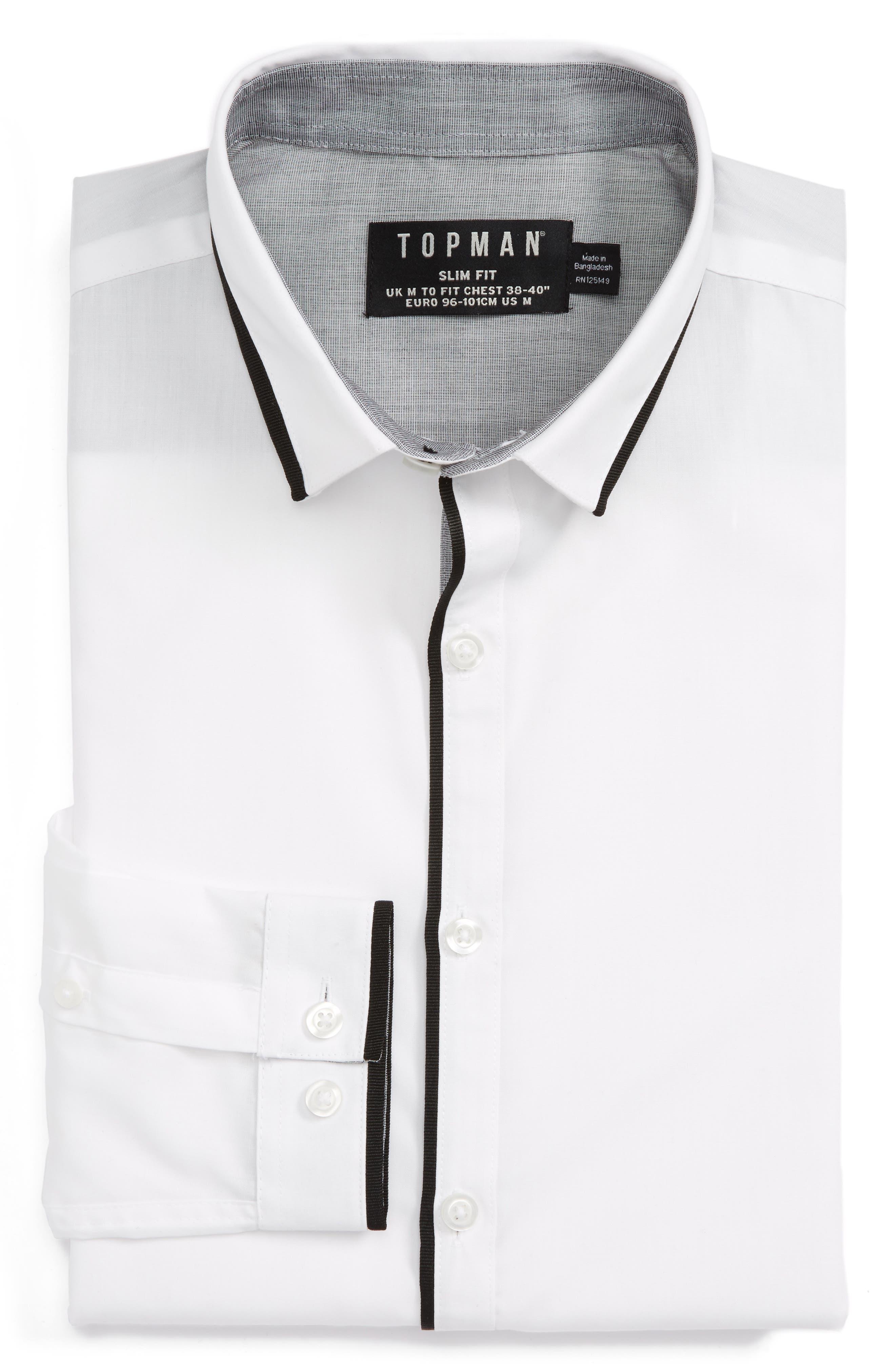 Topman Slim Fit Contrast Dress Shirt