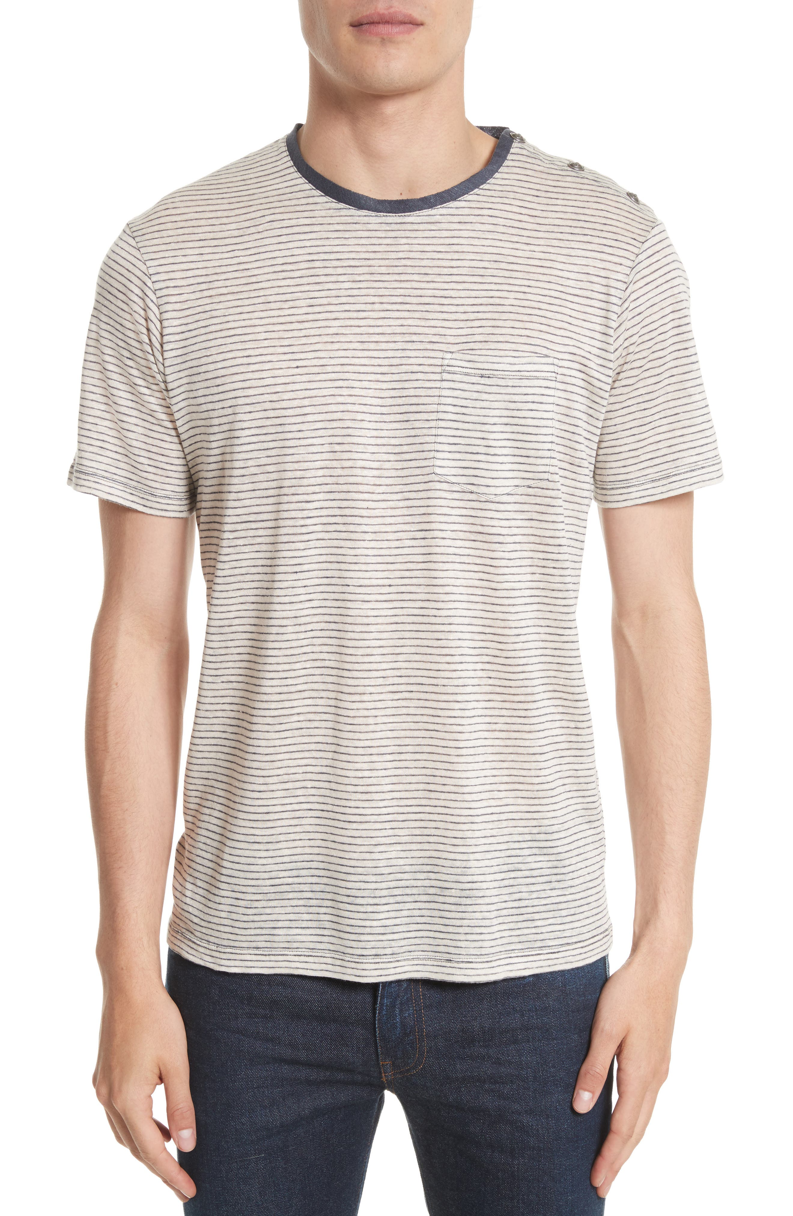 The Kooples Stripe Linen T-Shirt