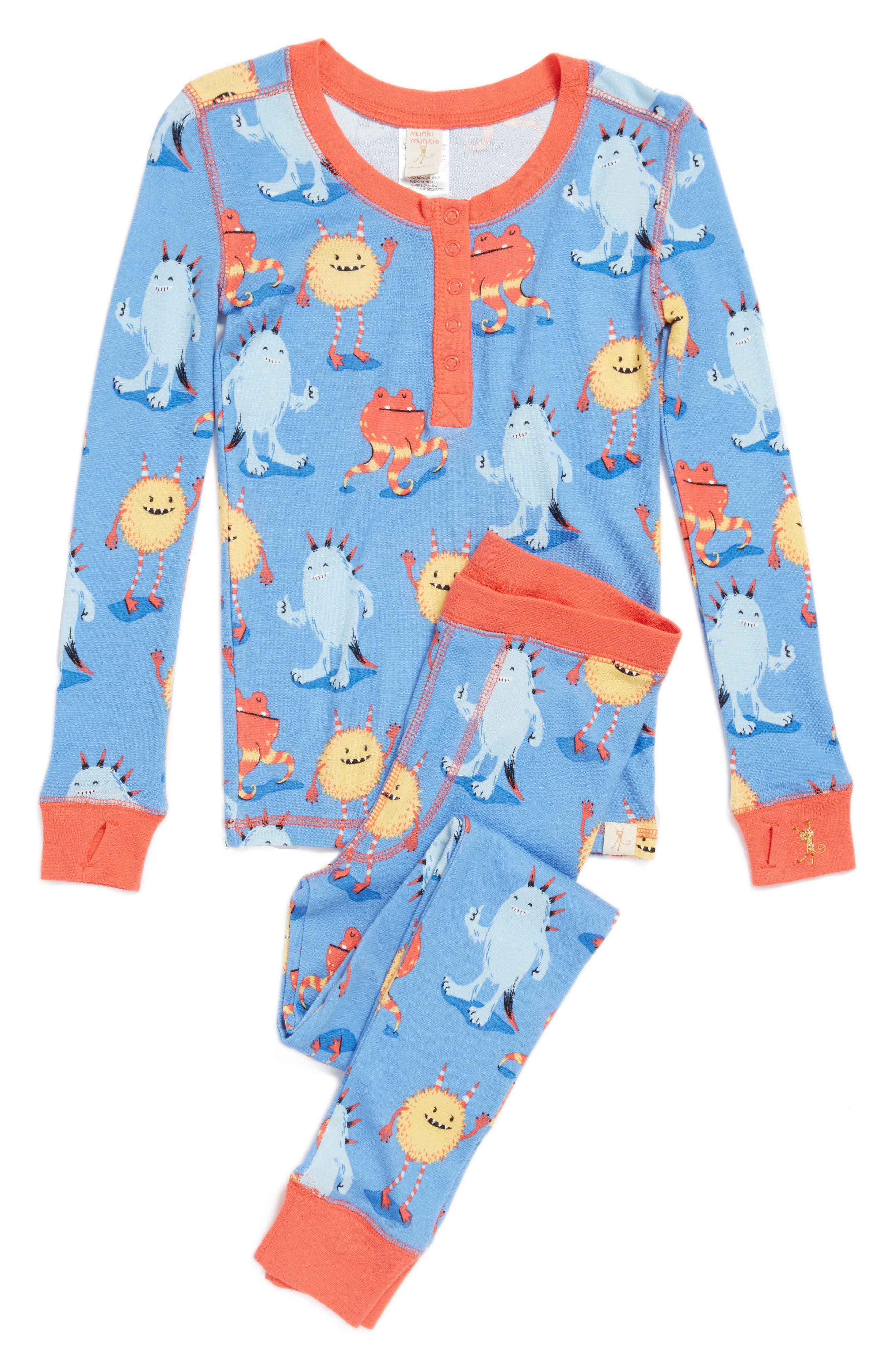 MUNKI MUNKI Fur Monsters Fitted Two-Piece Pajamas