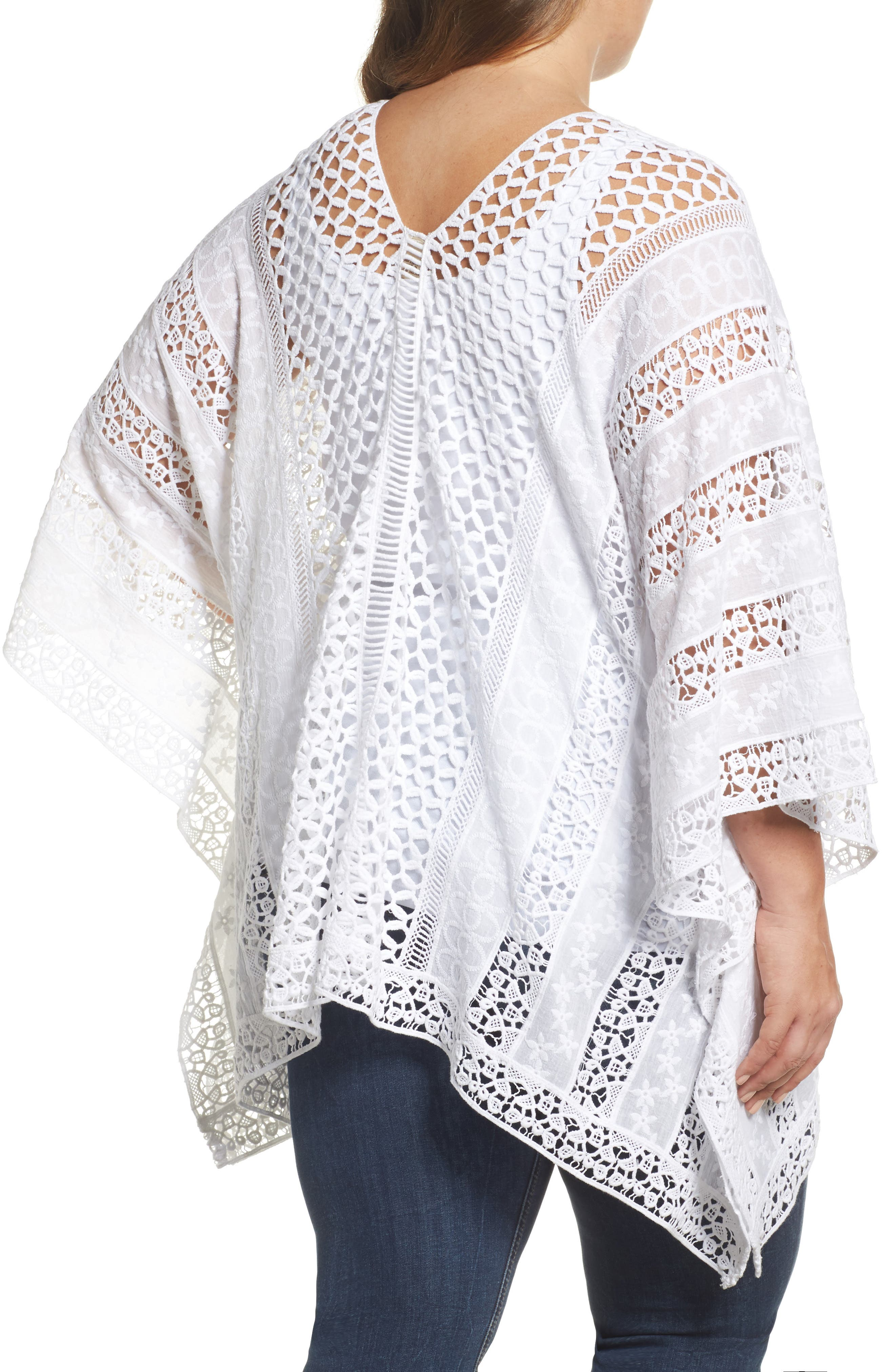 Jace Embroidered Cotton Poncho,                             Alternate thumbnail 2, color,                             White