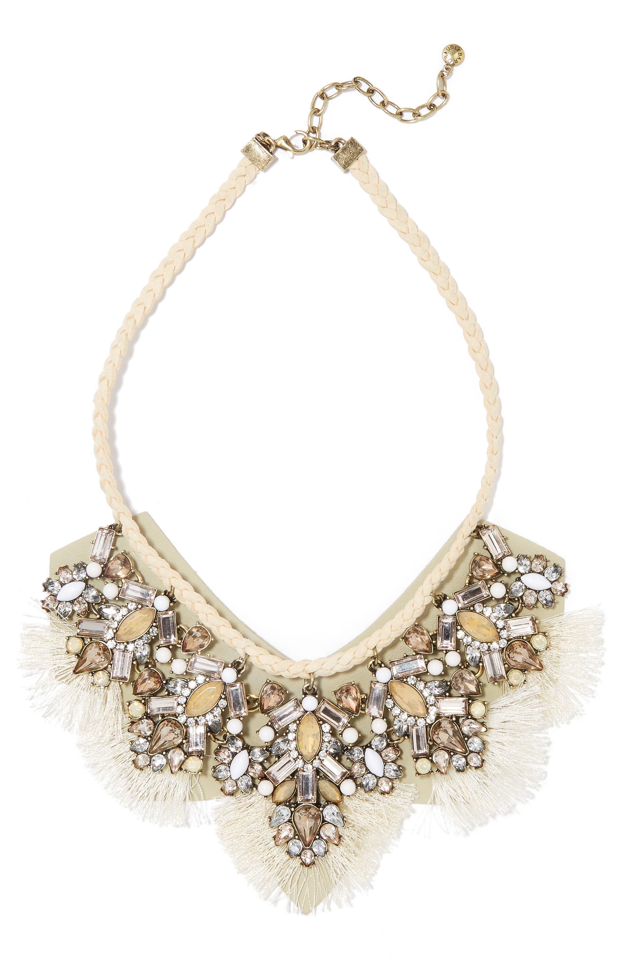 BaubleBar Montana Crystal Tassel Bib Necklace