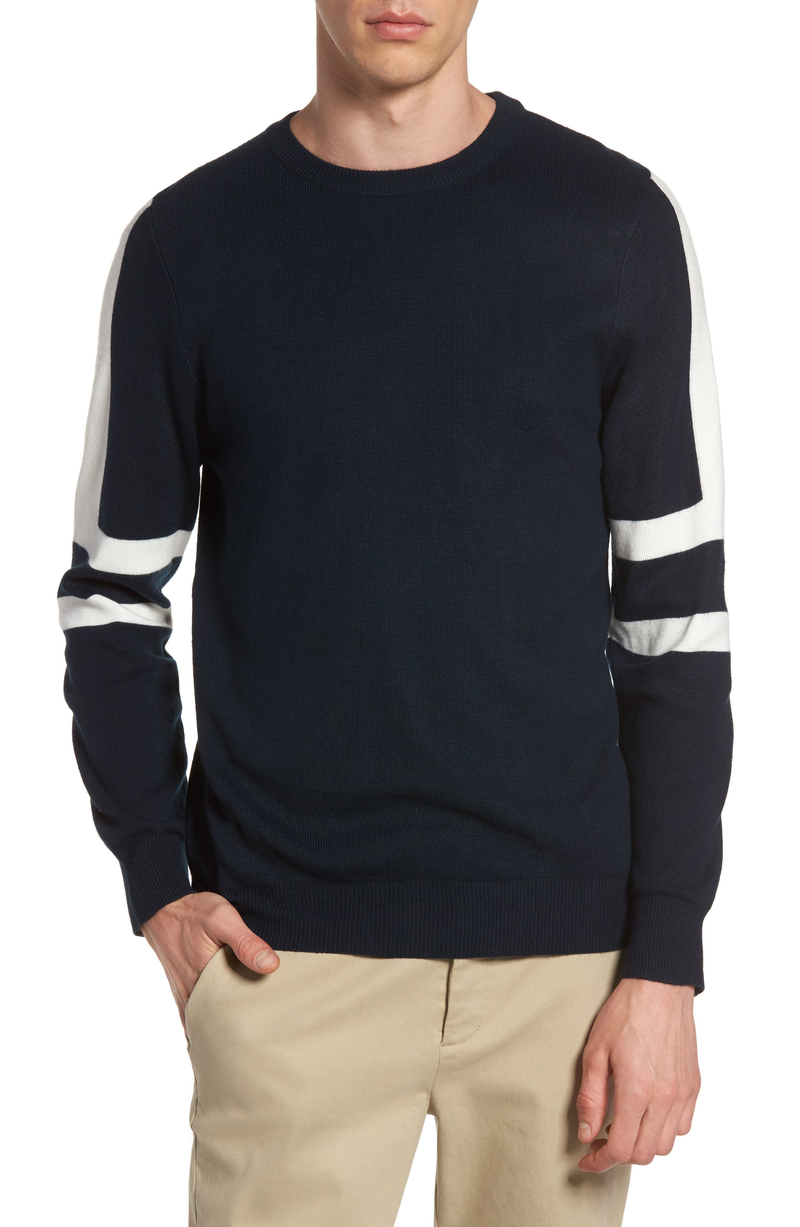 Slim Fit Sport Stripe Sweater,                             Main thumbnail 1, color,                             Navy Multi