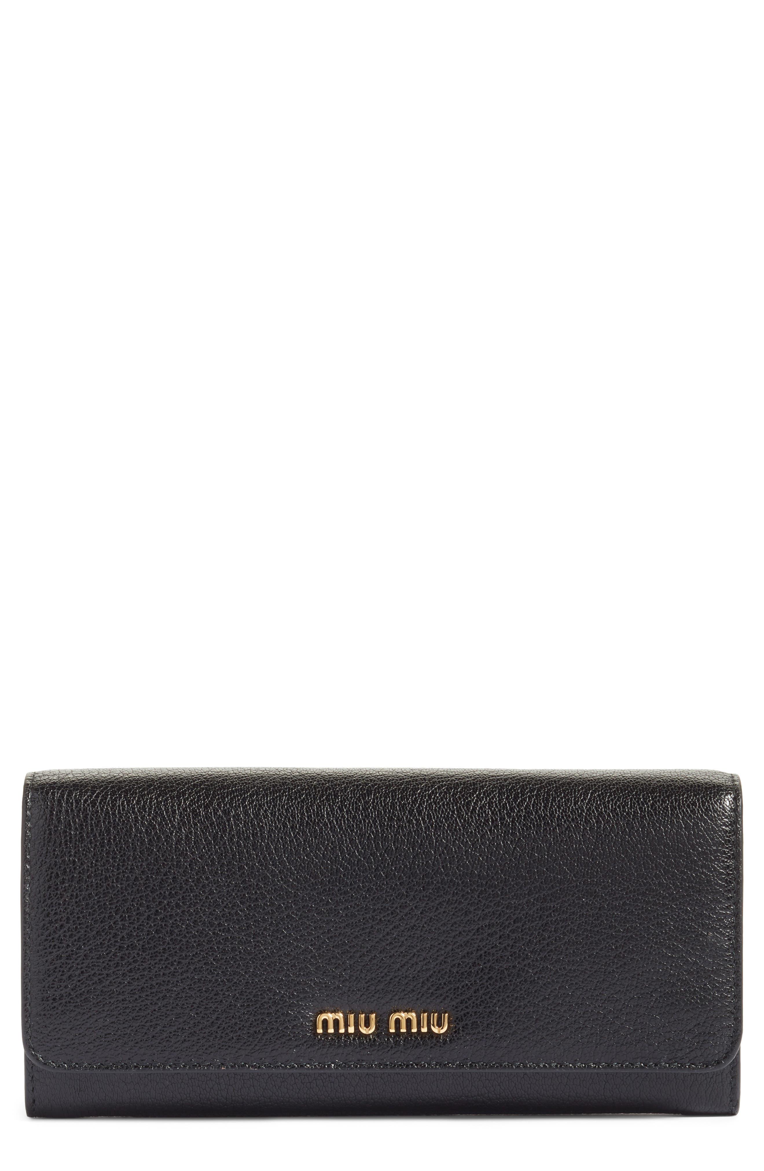 Alternate Image 1 Selected - Miu Miu Madras Leather Continental Wallet