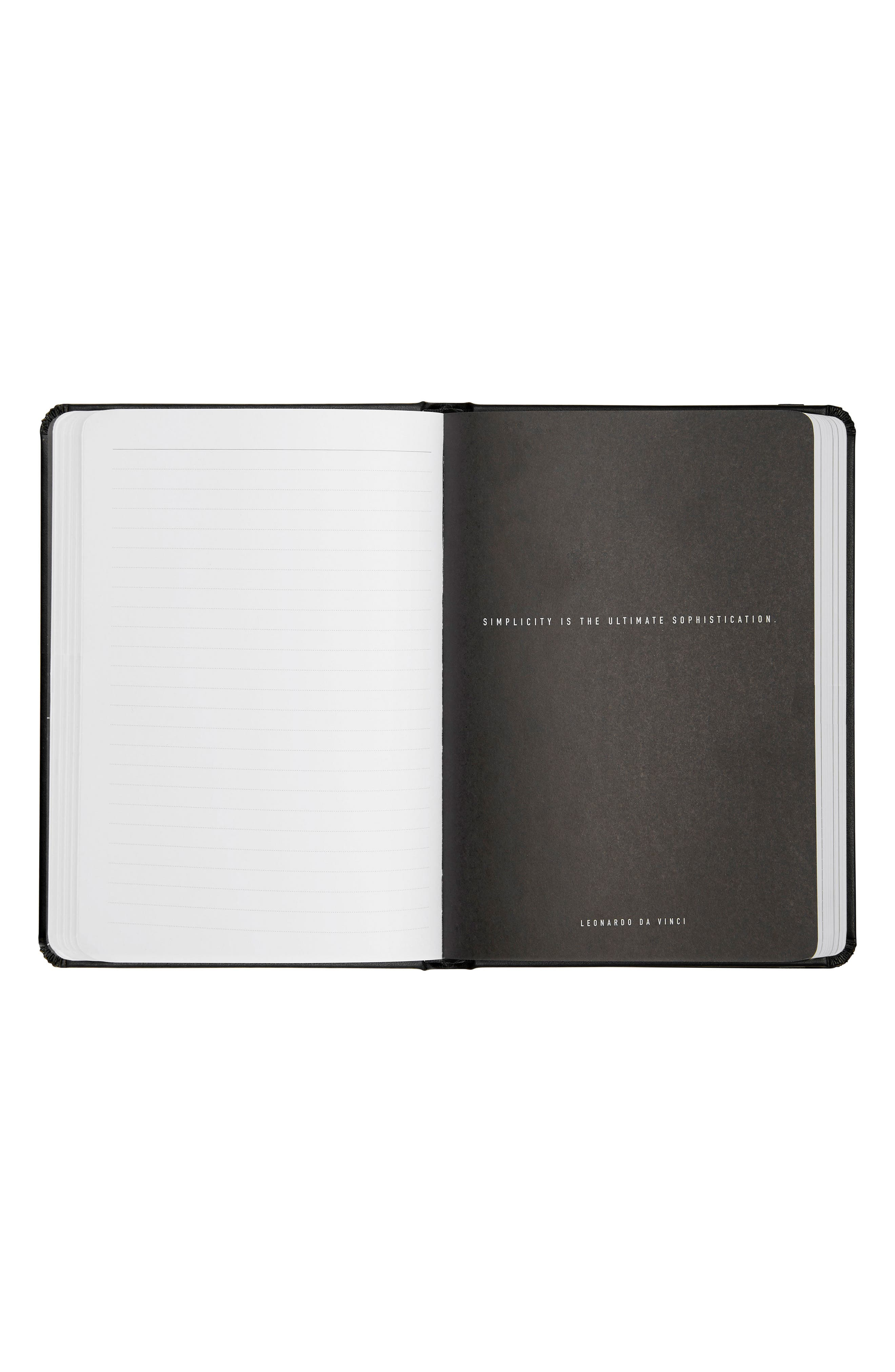 A5 Life Essentials Bonded Leather Notebook,                             Alternate thumbnail 3, color,                             Black/ Gold