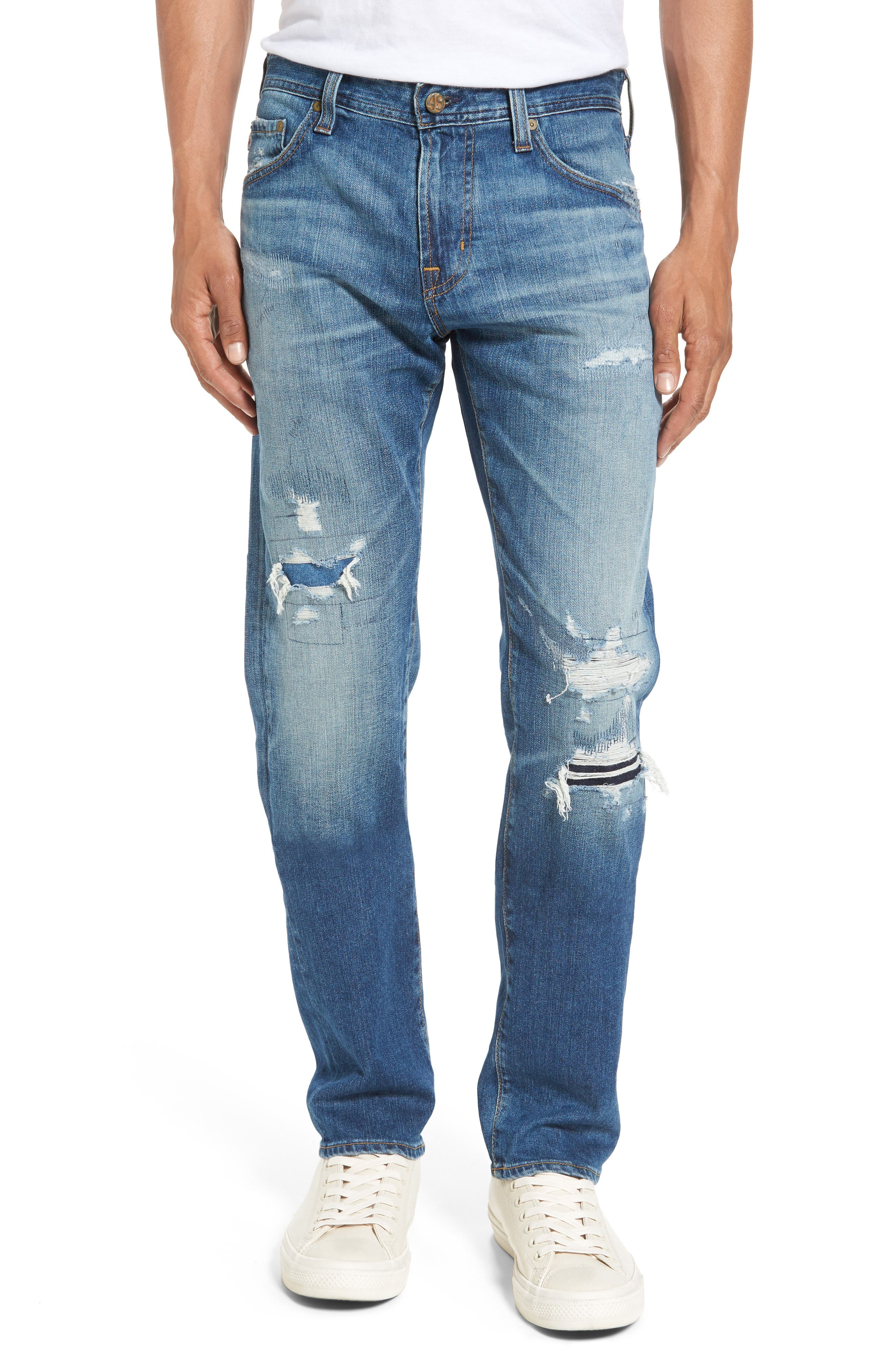 Main Image - AG Tellis Slim FIt Jeans (16 Years Rave Mended)
