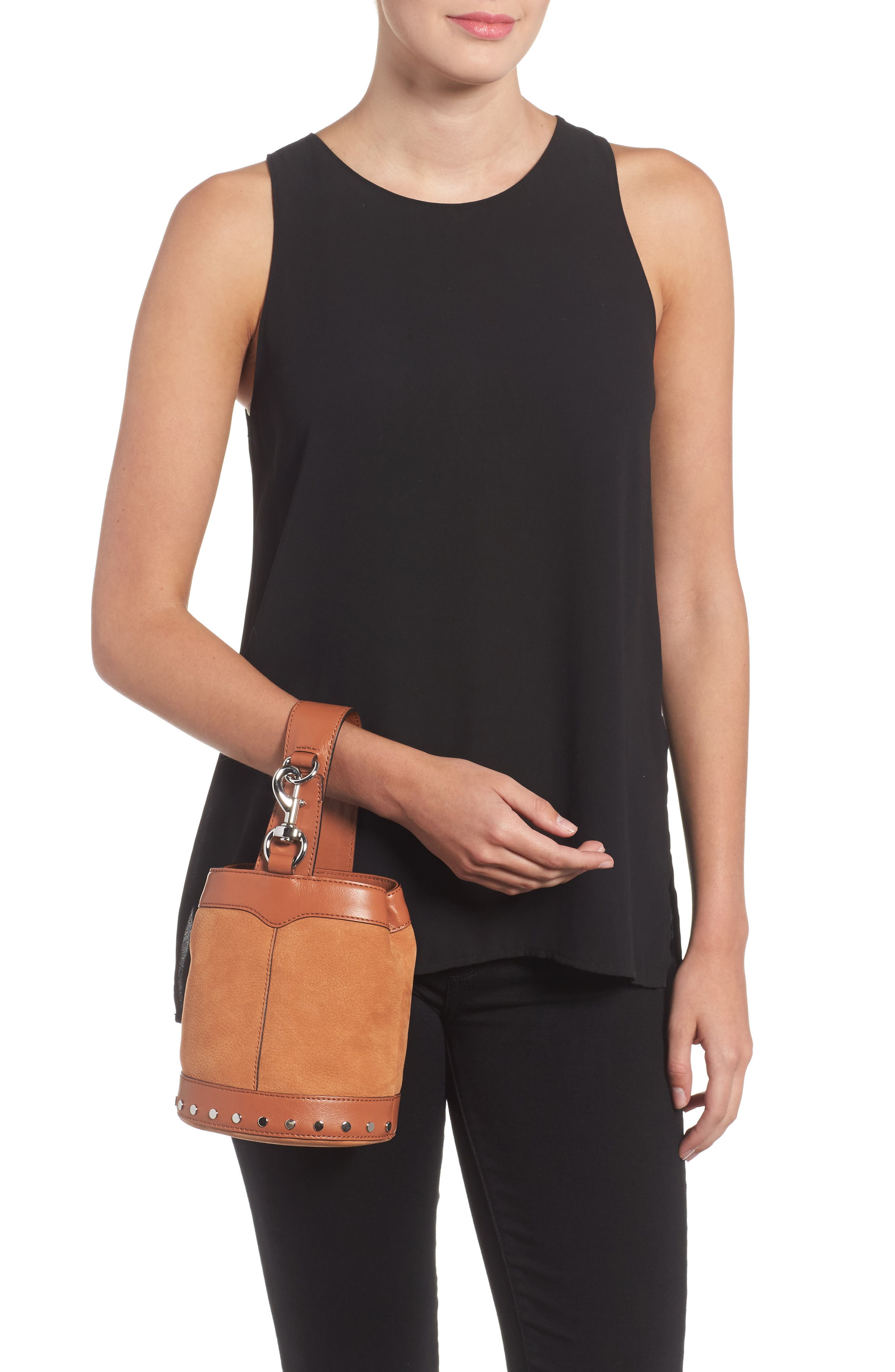 Mini Mission Leather Bucket Bag,                             Alternate thumbnail 3, color,                             Almond