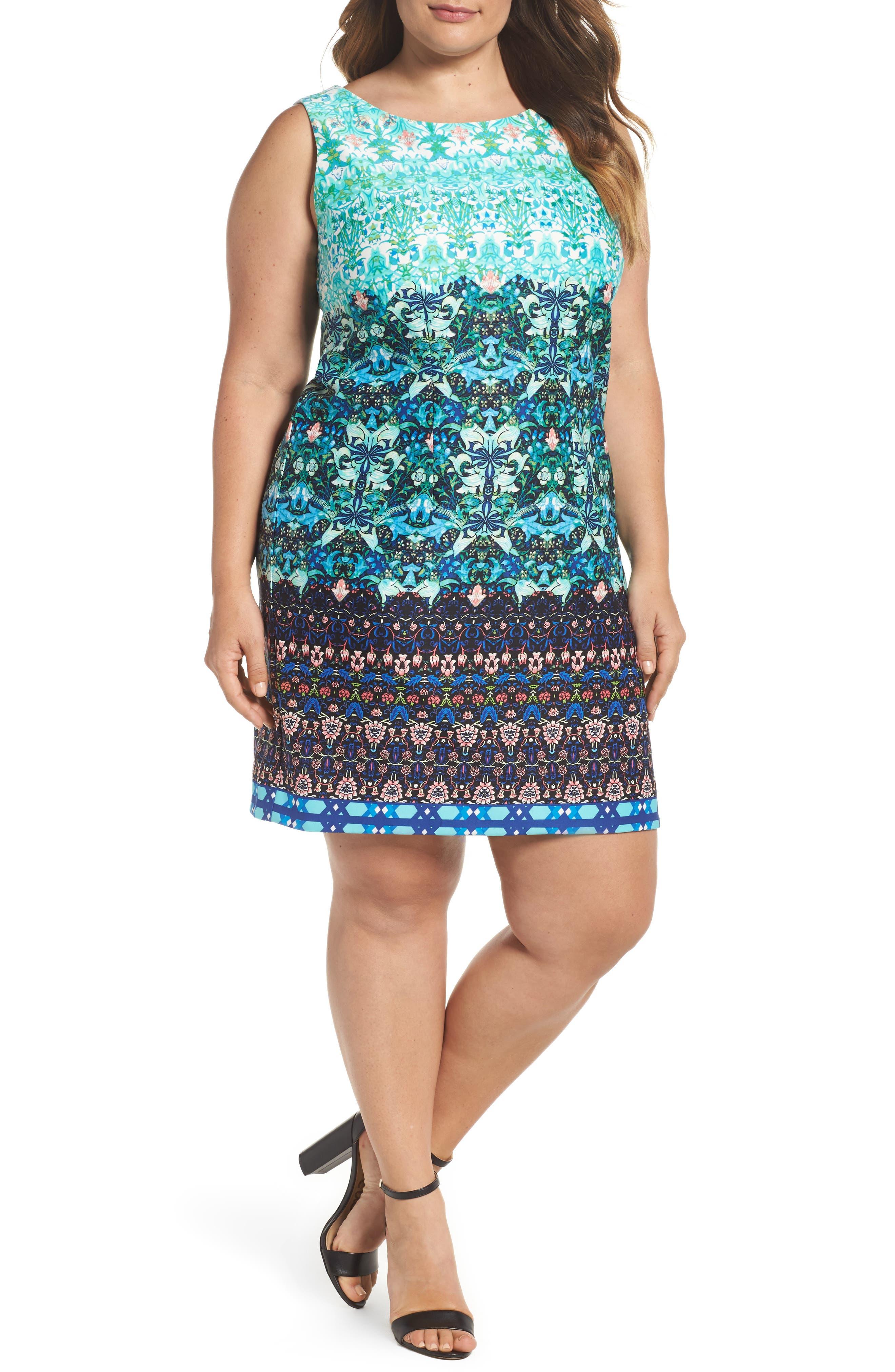 Taylor Dresses Mixed Print Scuba Sheath Dress (Plus Size)