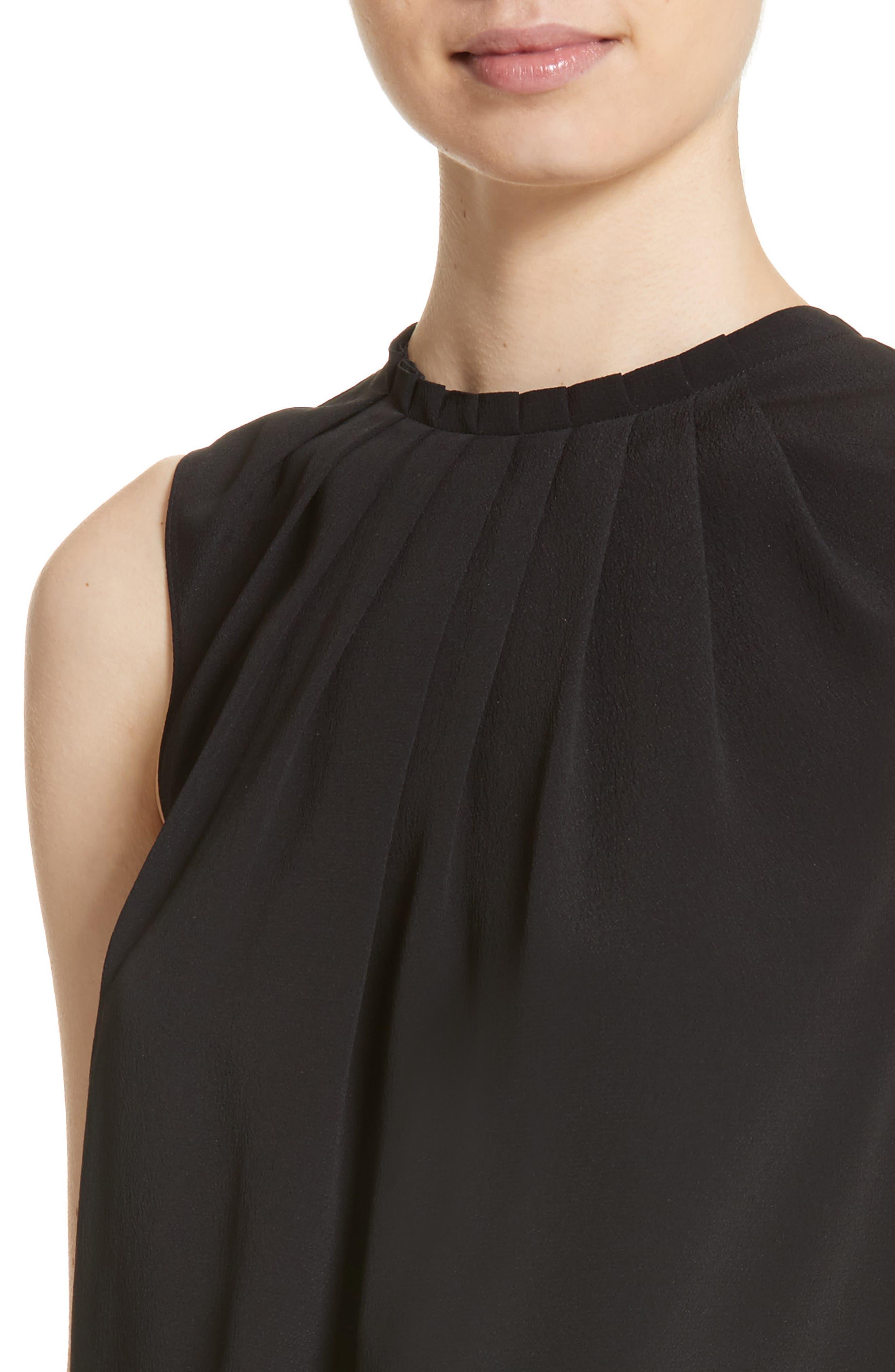 Tucked Neck Silk Blend Blouse,                             Alternate thumbnail 5, color,                             Black