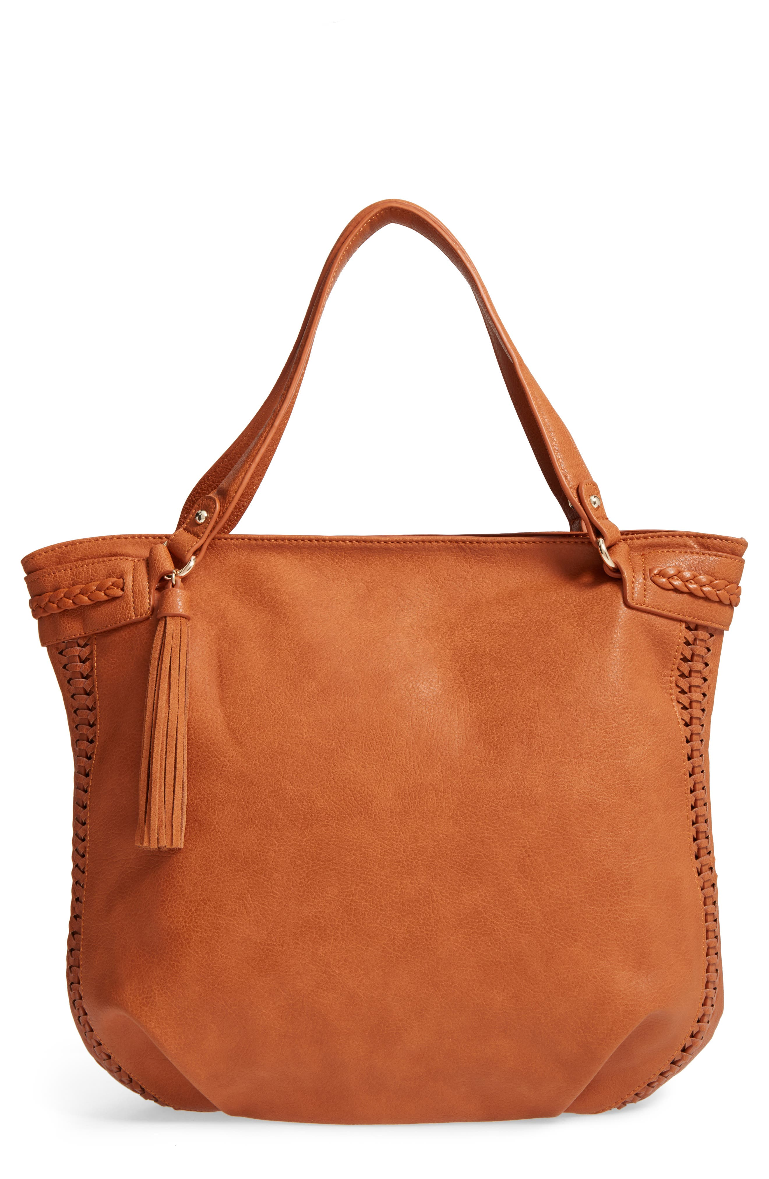 Tara Braided Faux Leather Hobo,                         Main,                         color, Cognac