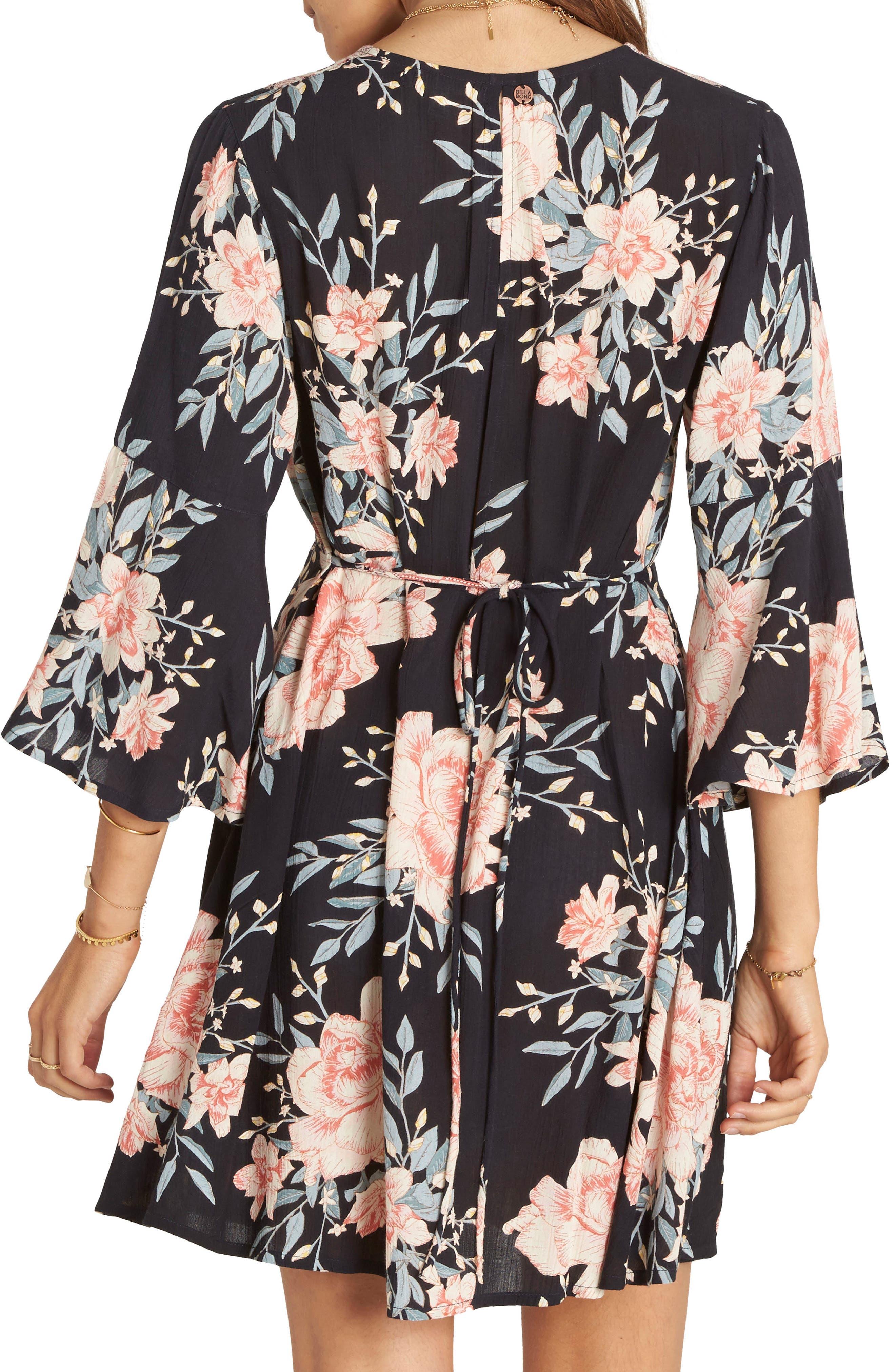 Divine Floral Dress,                             Alternate thumbnail 2, color,                             Black