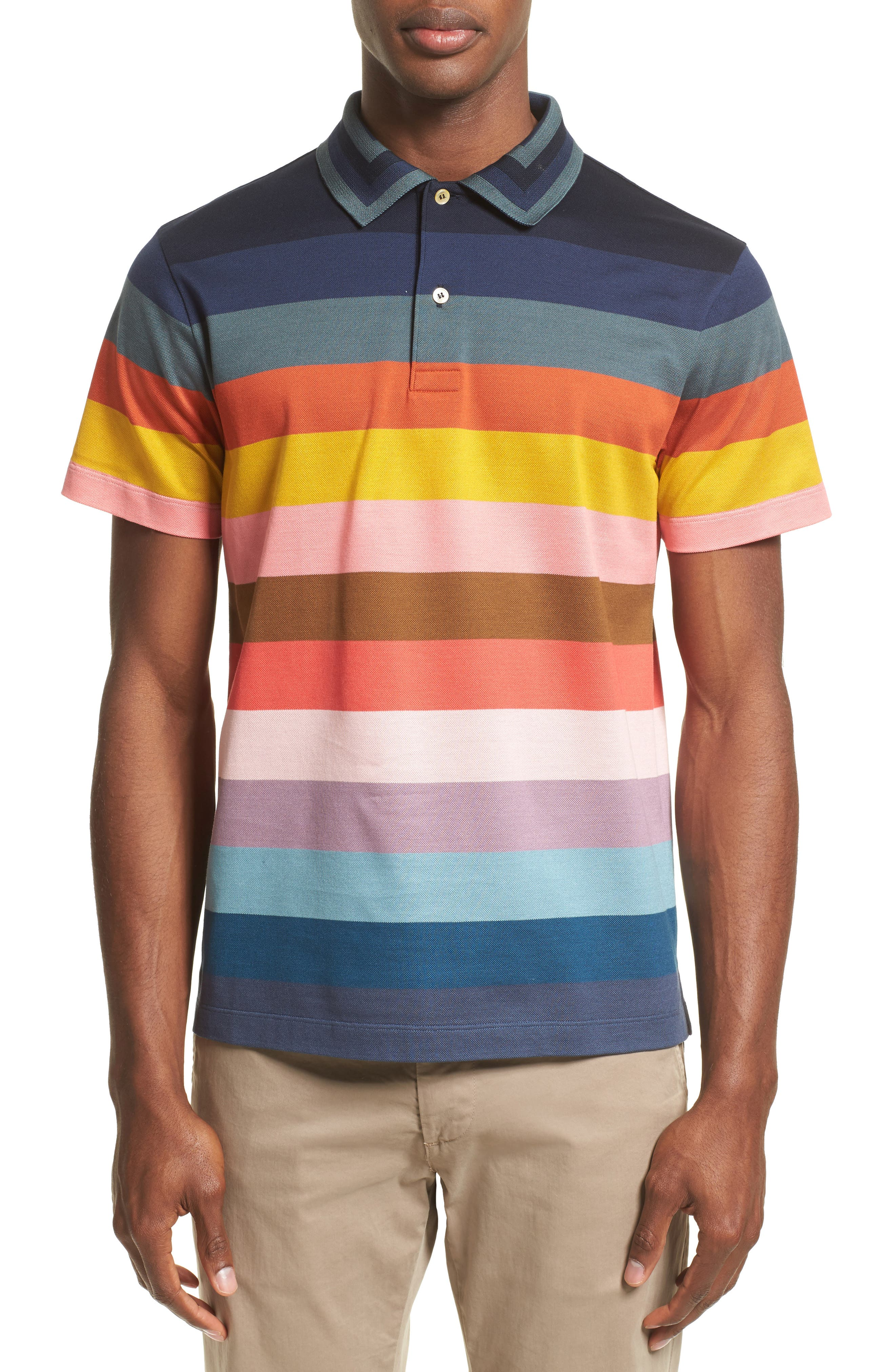 PAUL SMITH Multi Stripe Piqué Polo