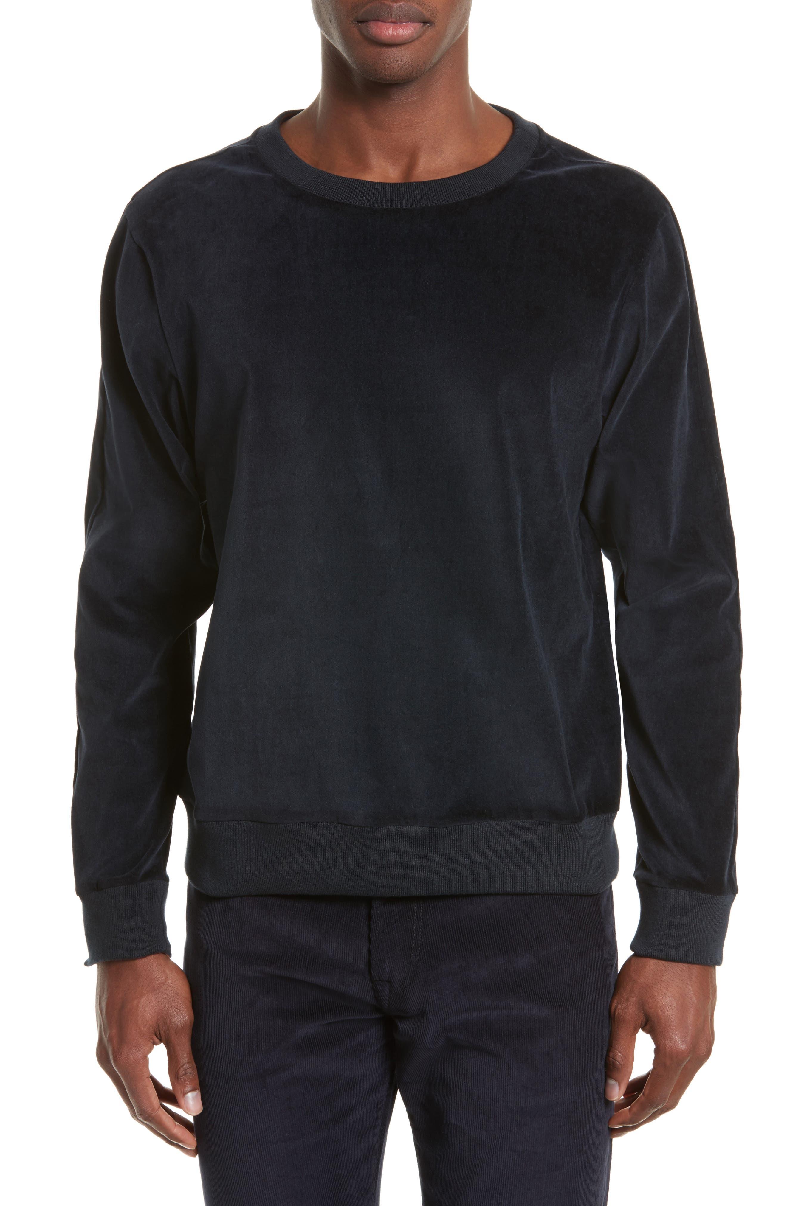 Velvet Sweatshirt,                         Main,                         color, Navy