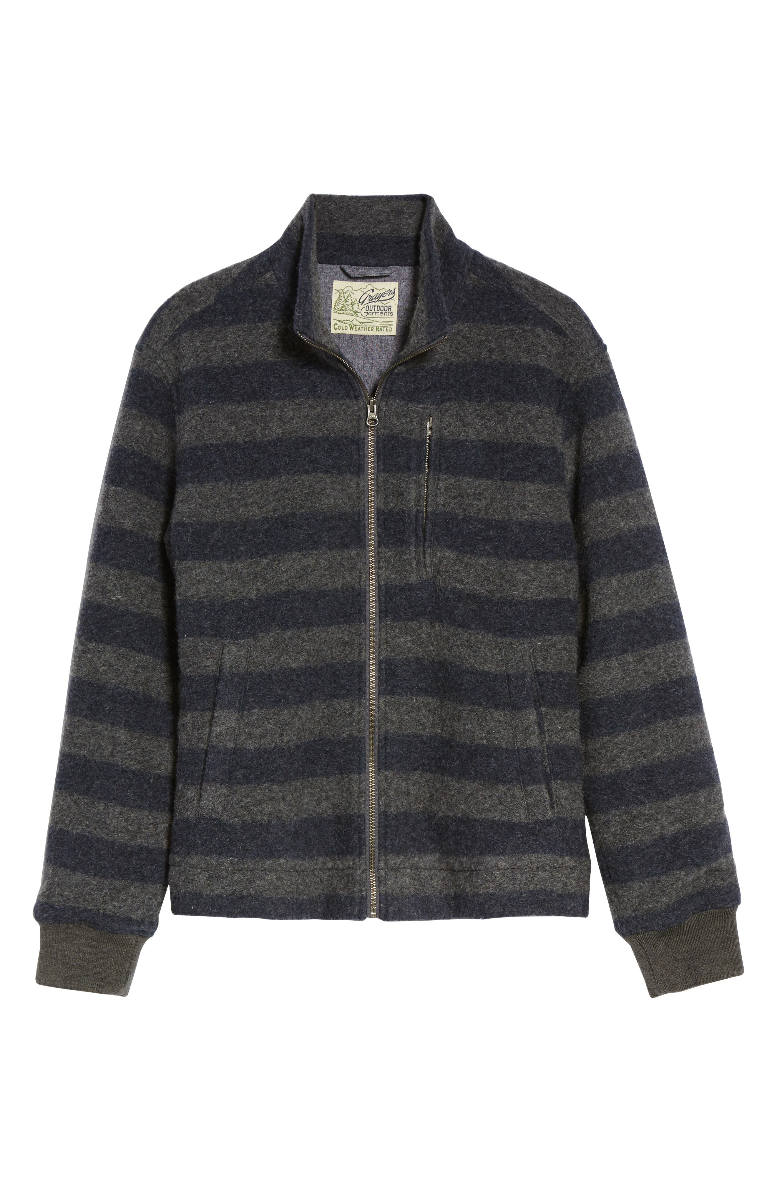 Bowen Stripe Zip Front Jacket,                             Alternate thumbnail 6, color,                             Grey Navy Stripe
