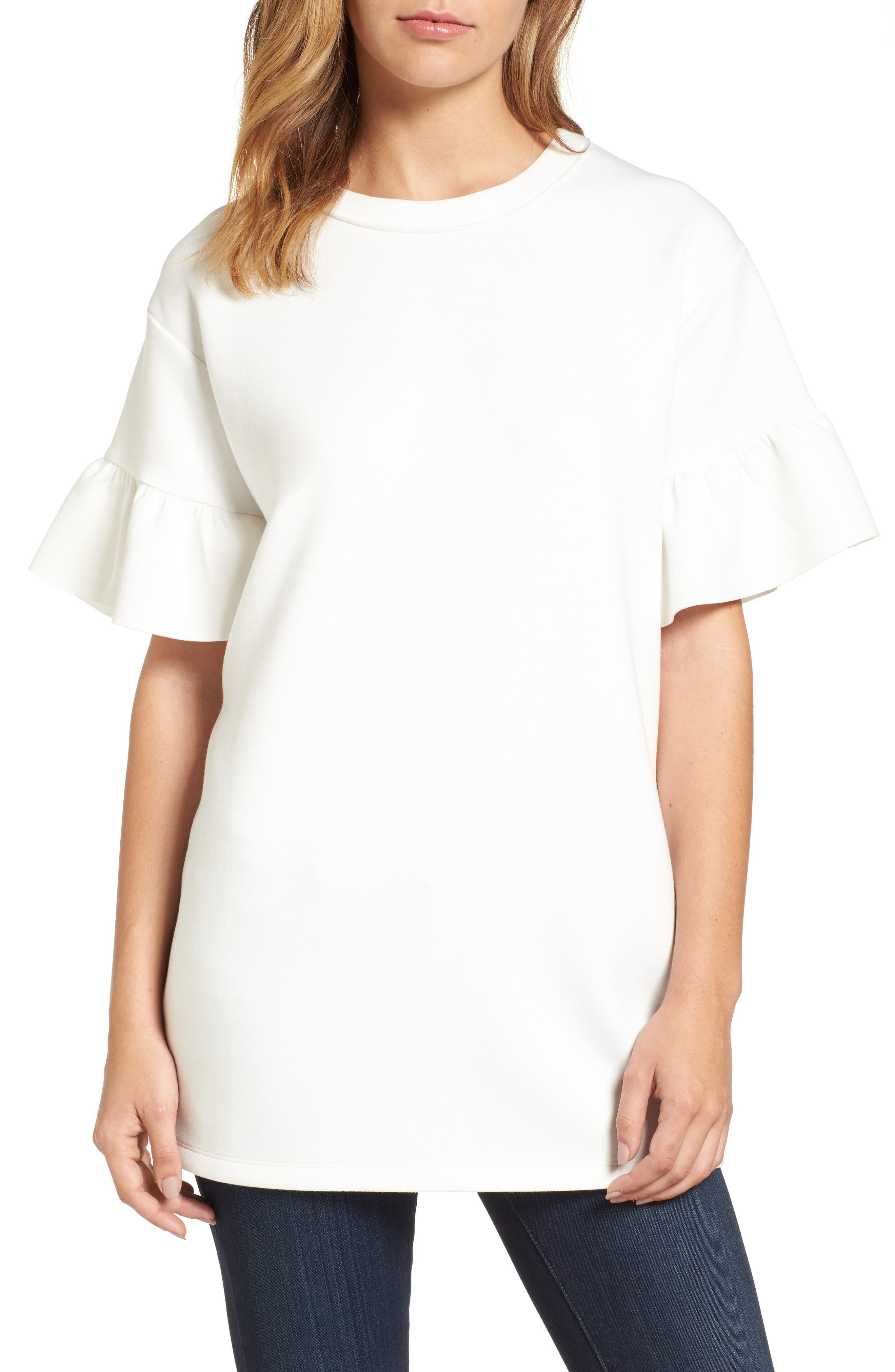 Halogen® Ruffle Sleeve Tunic (Regular & Petite)