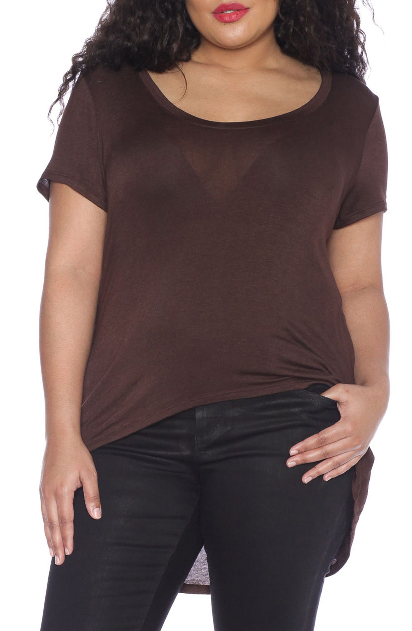 Alternate Image 1 Selected - SLINK Jeans High/Low Scoop Neck Tee (Plus Size)