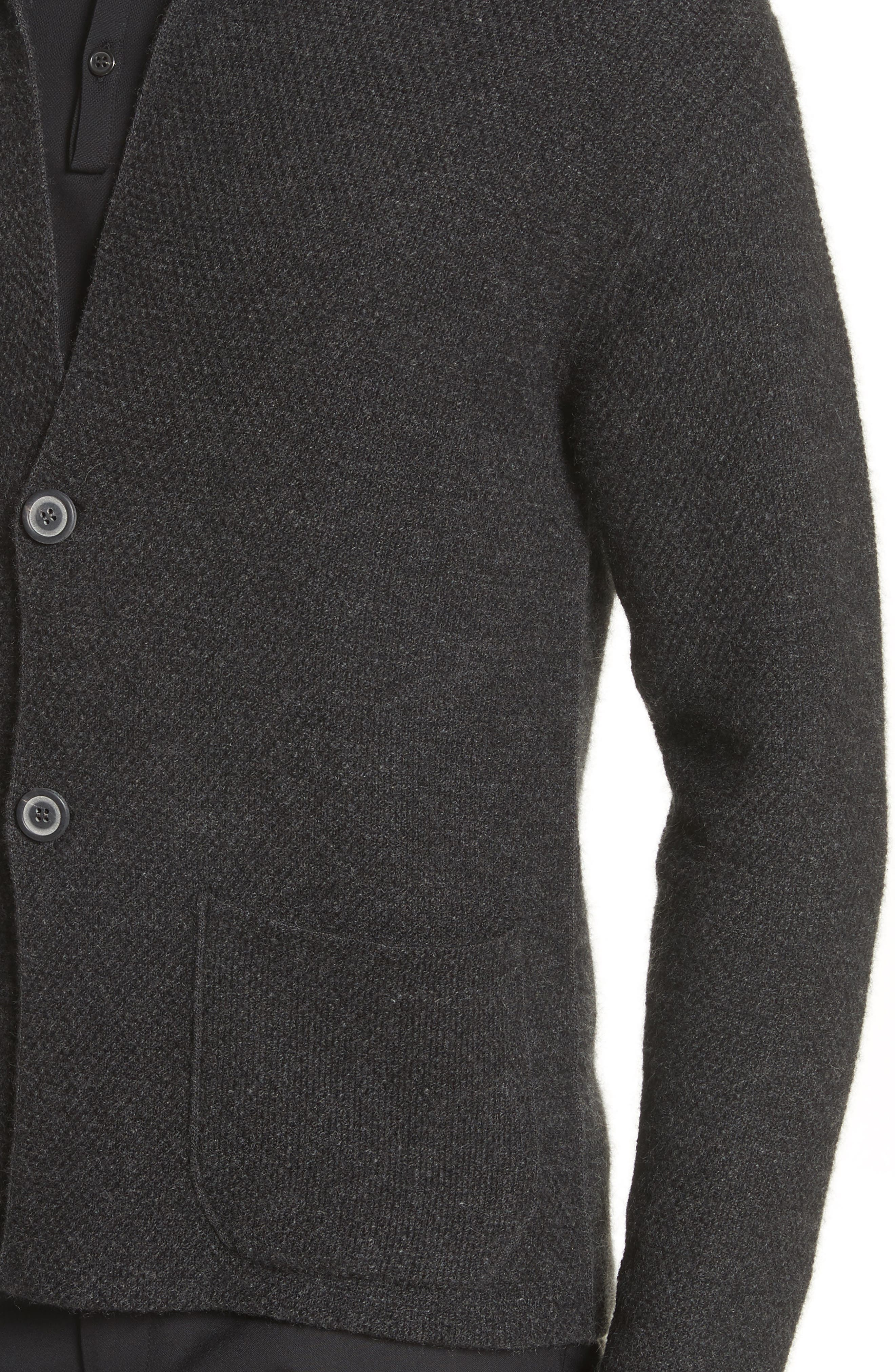 Cashmere Sweater Jacket,                             Alternate thumbnail 4, color,                             Anthracite