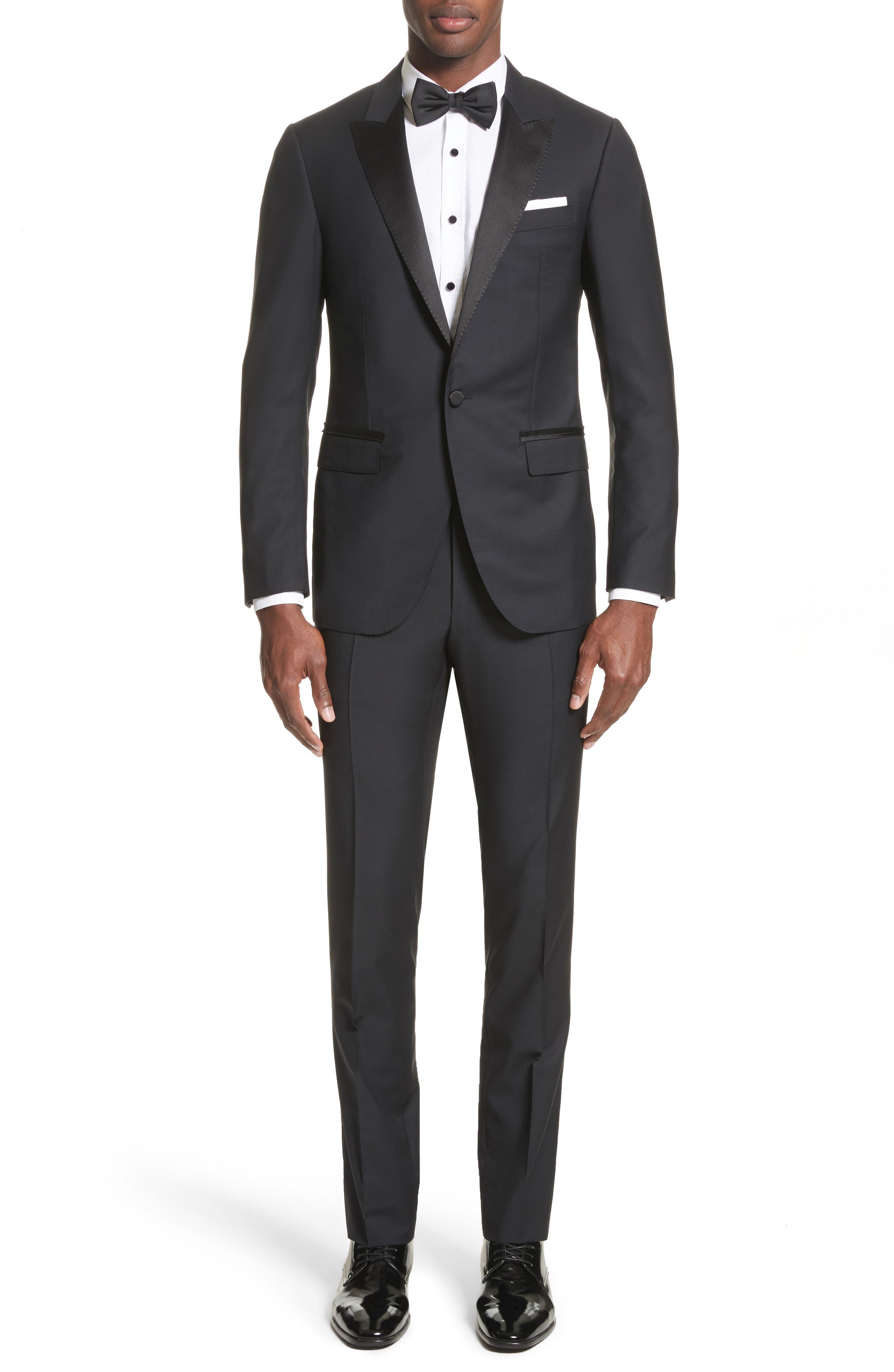 Peak Lapel Wool Blend Tuxedo,                             Main thumbnail 1, color,                             Navy