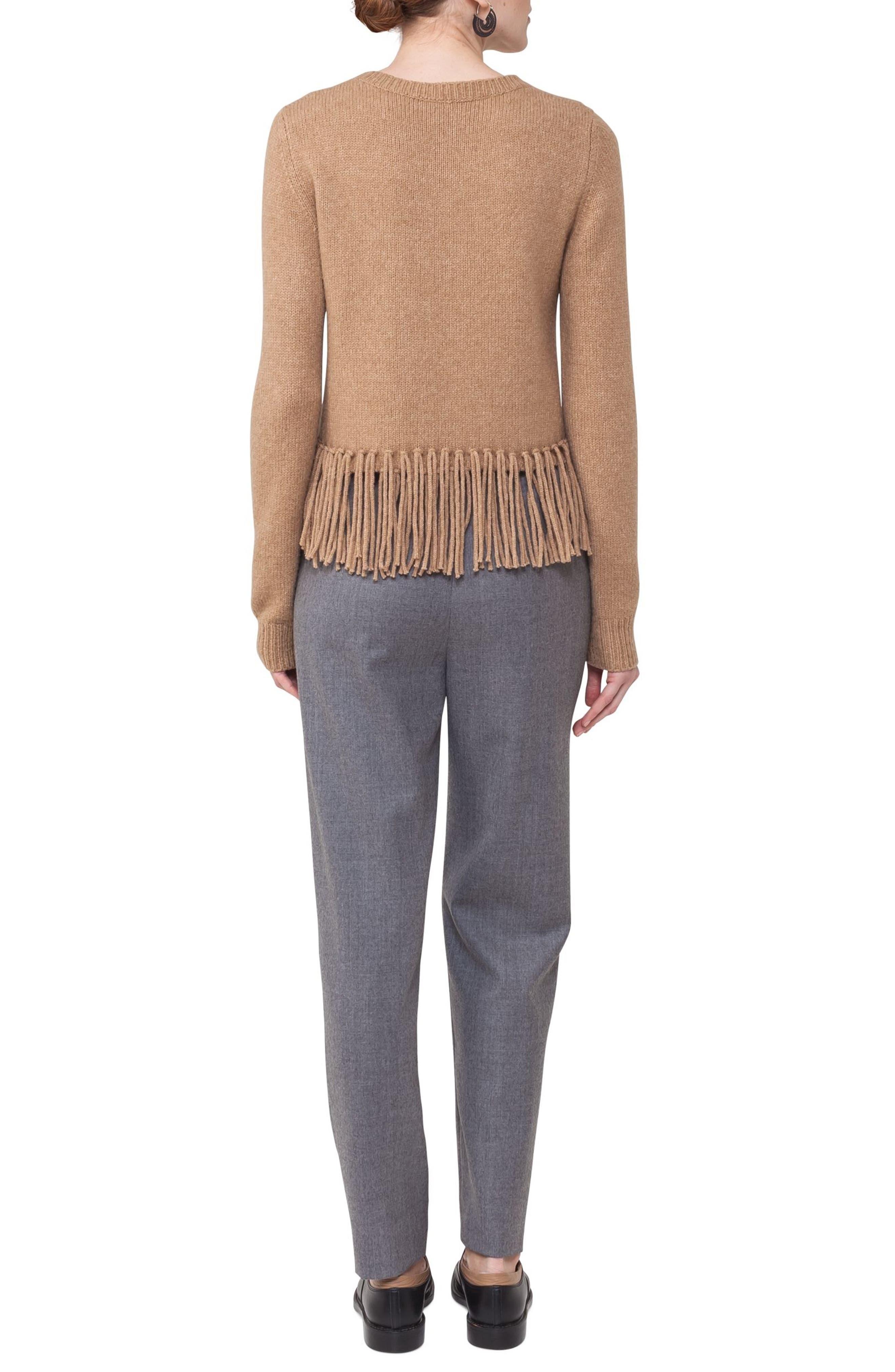 Fringe Cable Knit Wool Blend Pullover,                             Alternate thumbnail 2, color,                             Vikuna