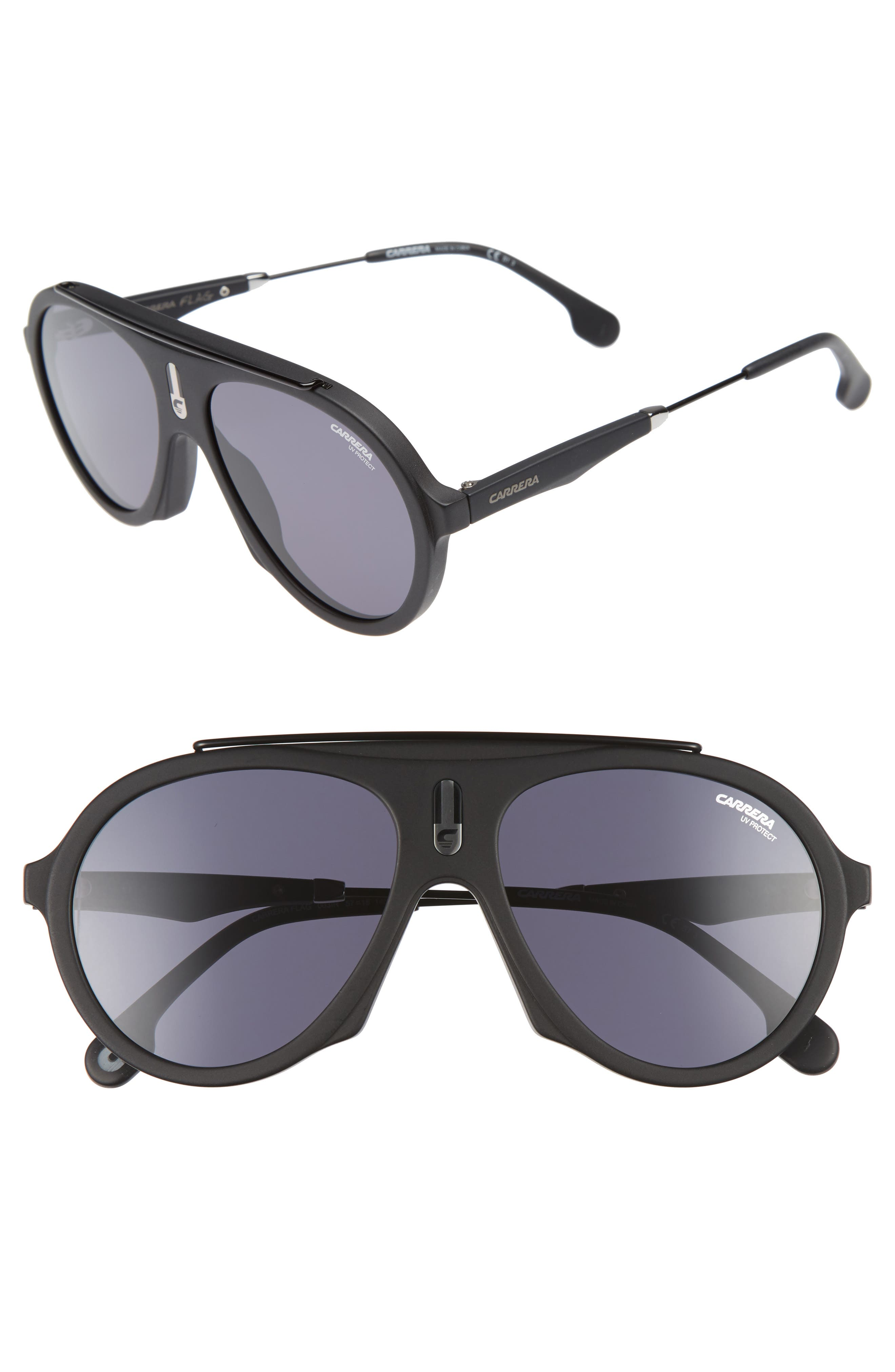 Main Image - Carrera Flag 57mm Mirrored Pilot Sunglasses