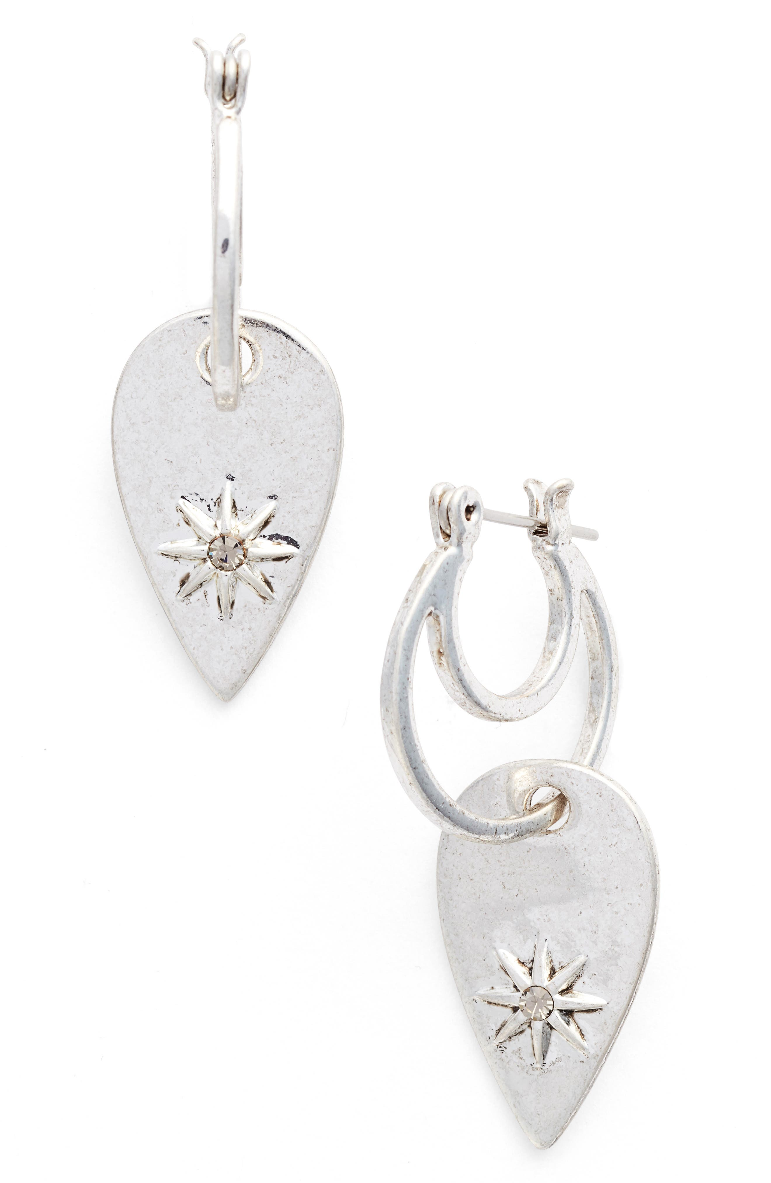 Starburst Double Drop Earrings,                         Main,                         color, Silver