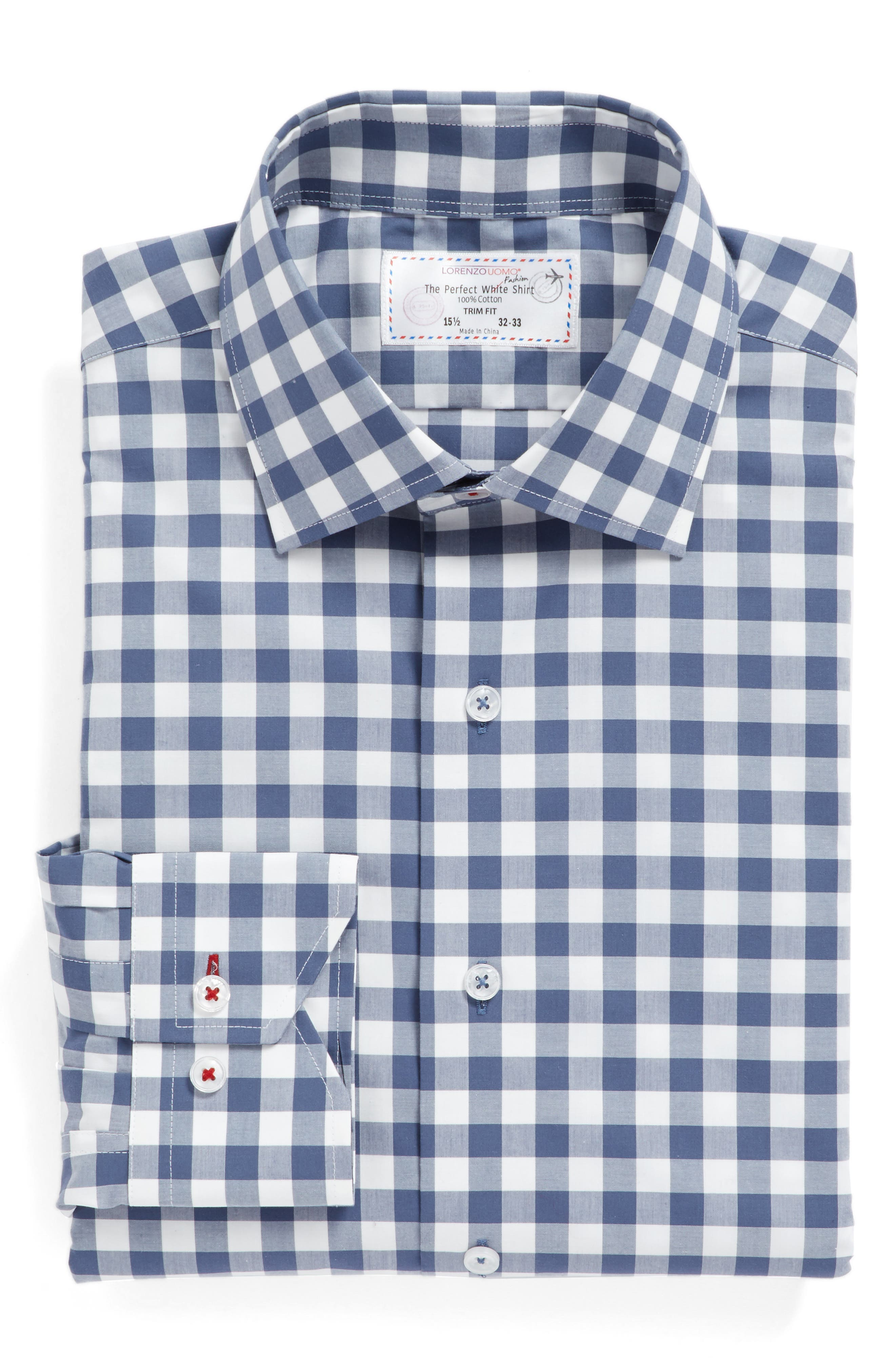 Trim Fit Check Dress Shirt,                             Alternate thumbnail 4, color,                             Navy/ Grey