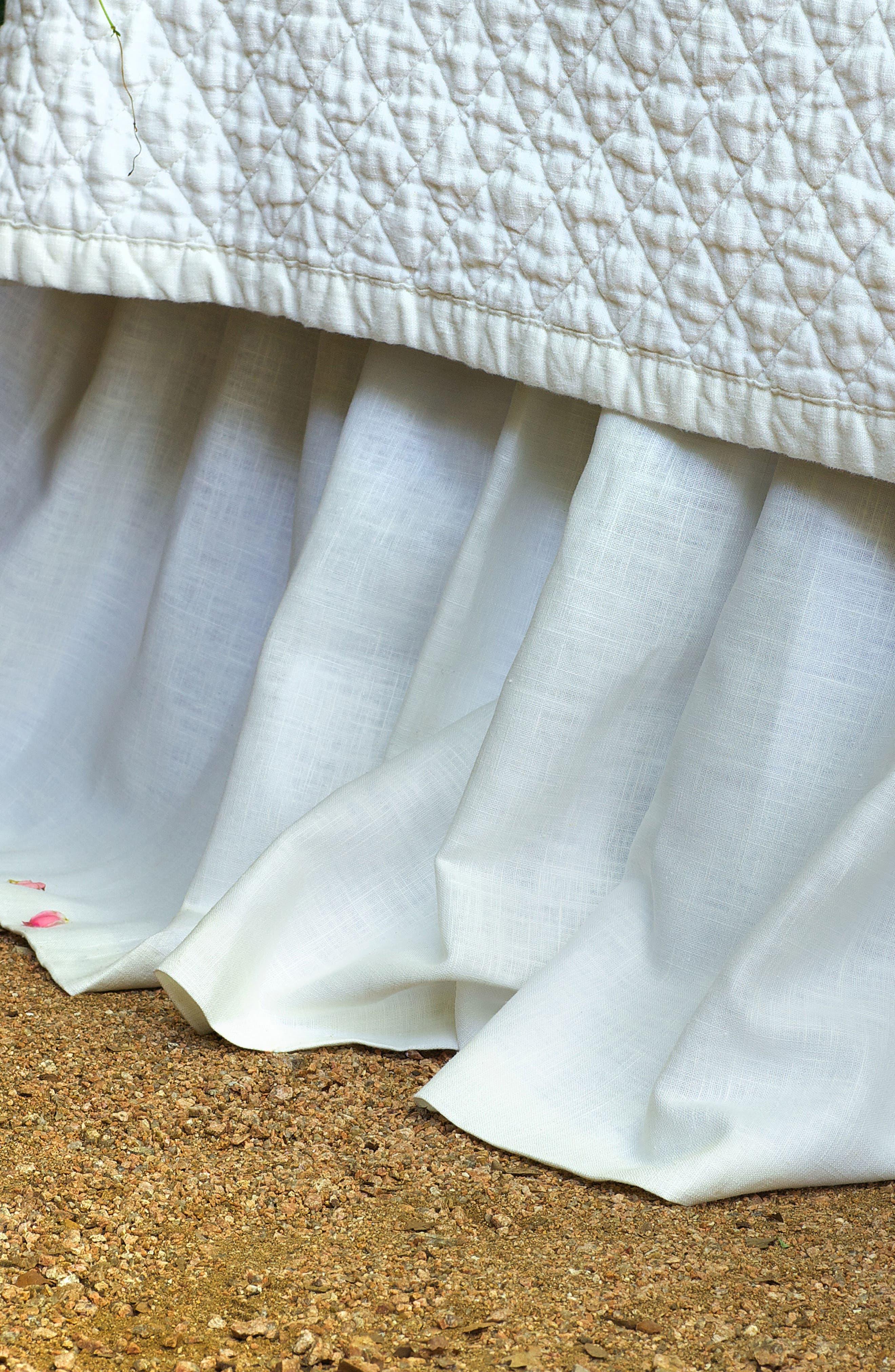 Emily Gathered Linen Bed Skirt,                         Main,                         color, White
